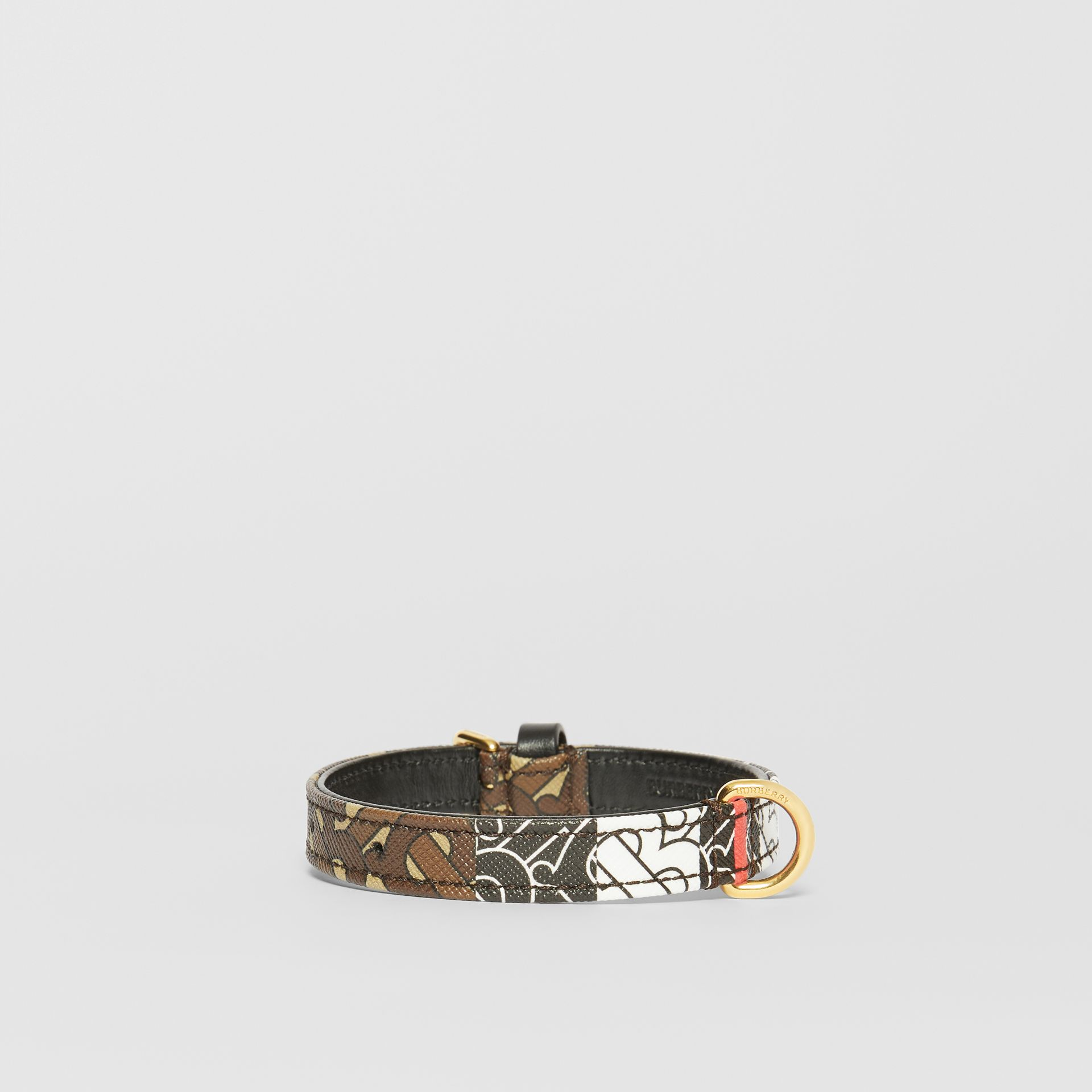 Small Monogram Stripe E-canvas Dog Collar in Bridle Brown | Burberry - gallery image 2