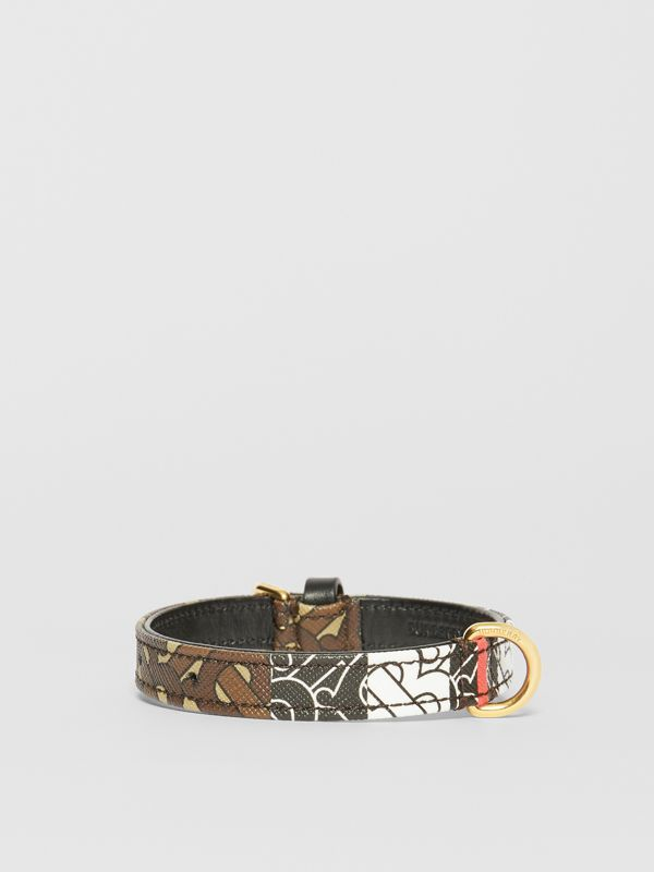 Small Monogram Stripe E-canvas Dog Collar in Bridle Brown | Burberry - cell image 2