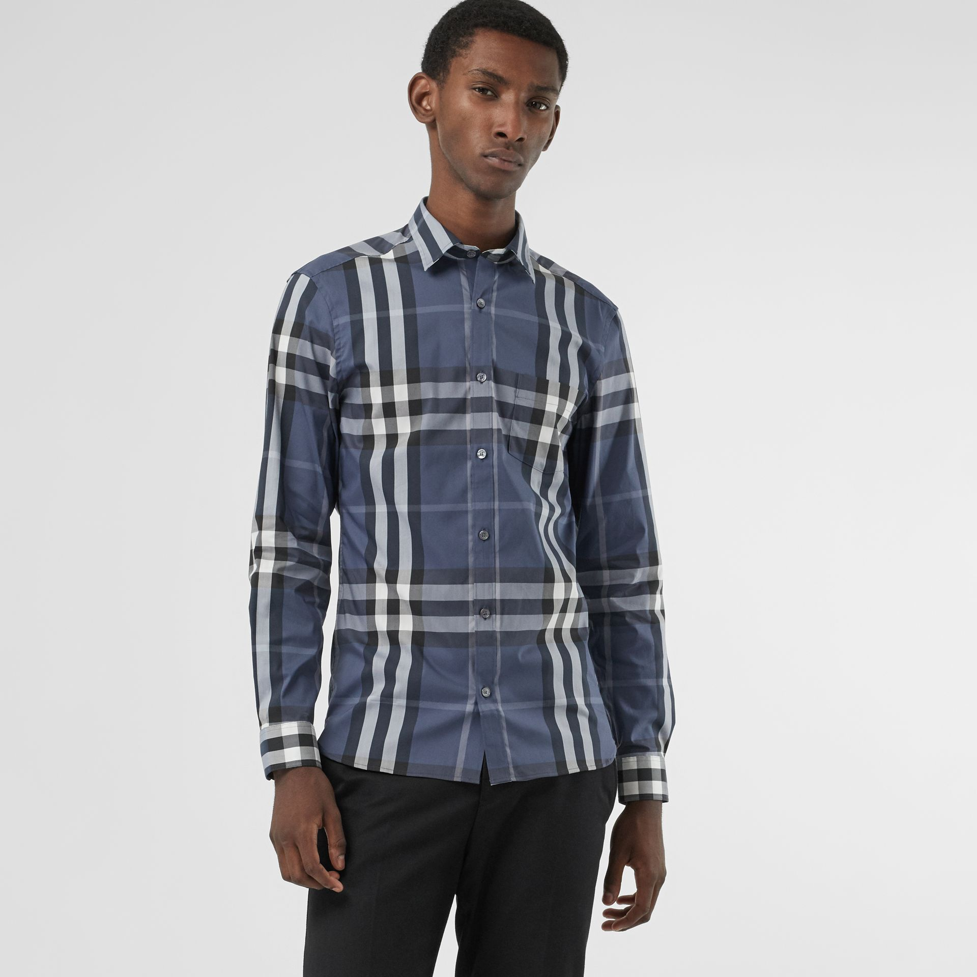 Check Stretch Cotton Shirt in Thistle Blue - Men | Burberry - gallery image 0