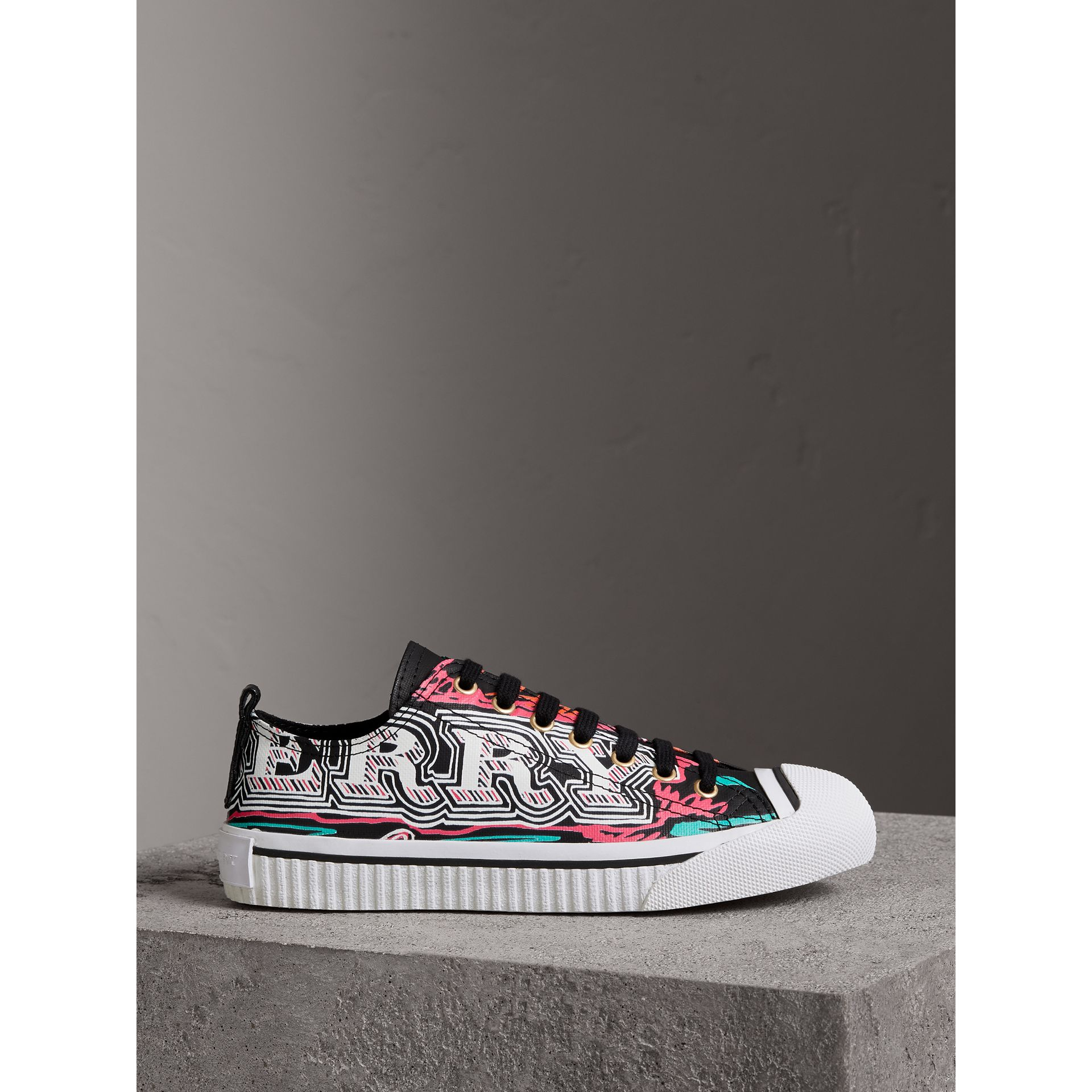 Doodle Print Coated Cotton Sneakers in Black - Women | Burberry - gallery image 4
