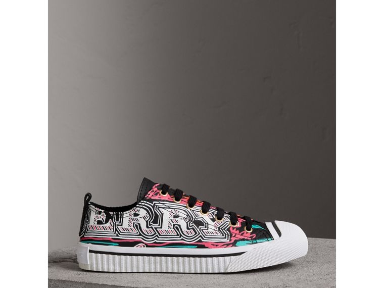 Doodle Print Coated Cotton Sneakers in Black - Women | Burberry - cell image 4