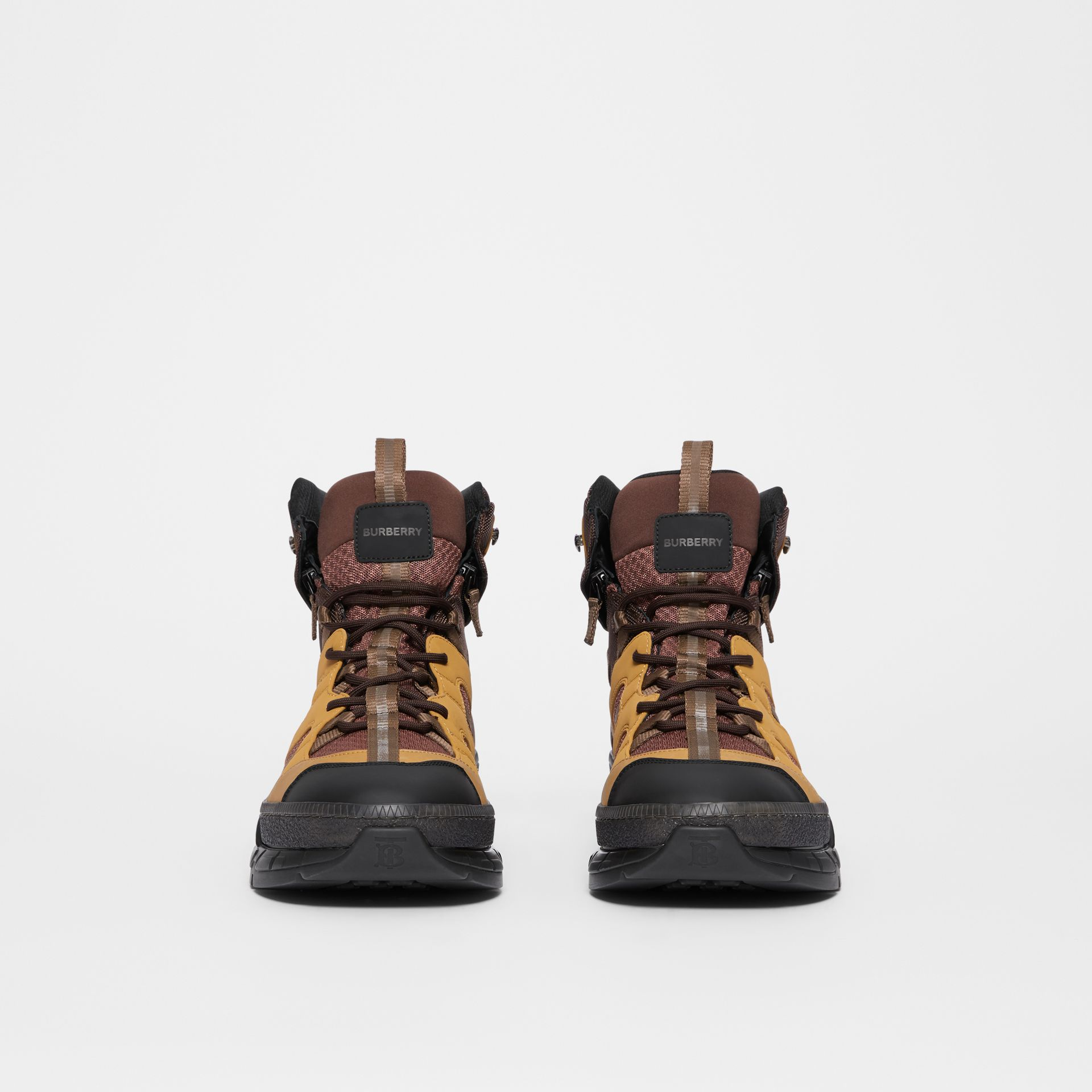 Mesh and Nubuck Union High-top Sneakers in Dark Tan - Men | Burberry - gallery image 3
