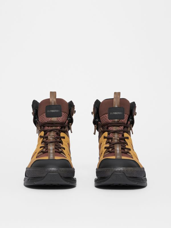 Mesh and Nubuck Union High-top Sneakers in Dark Tan - Men | Burberry - cell image 3