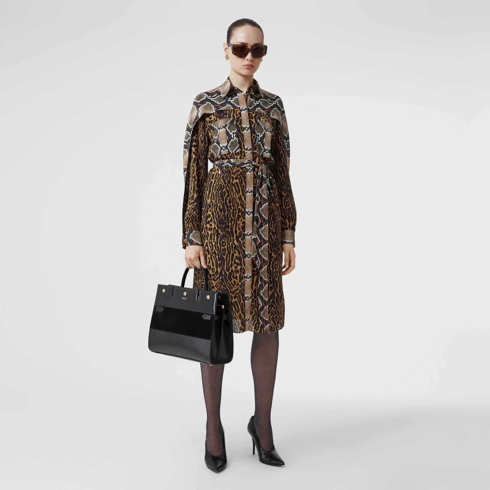 Sac Title moyen en cuir de cerf et cuir velours (Noir) - Femme | Burberry Canada - photo de la galerie 5