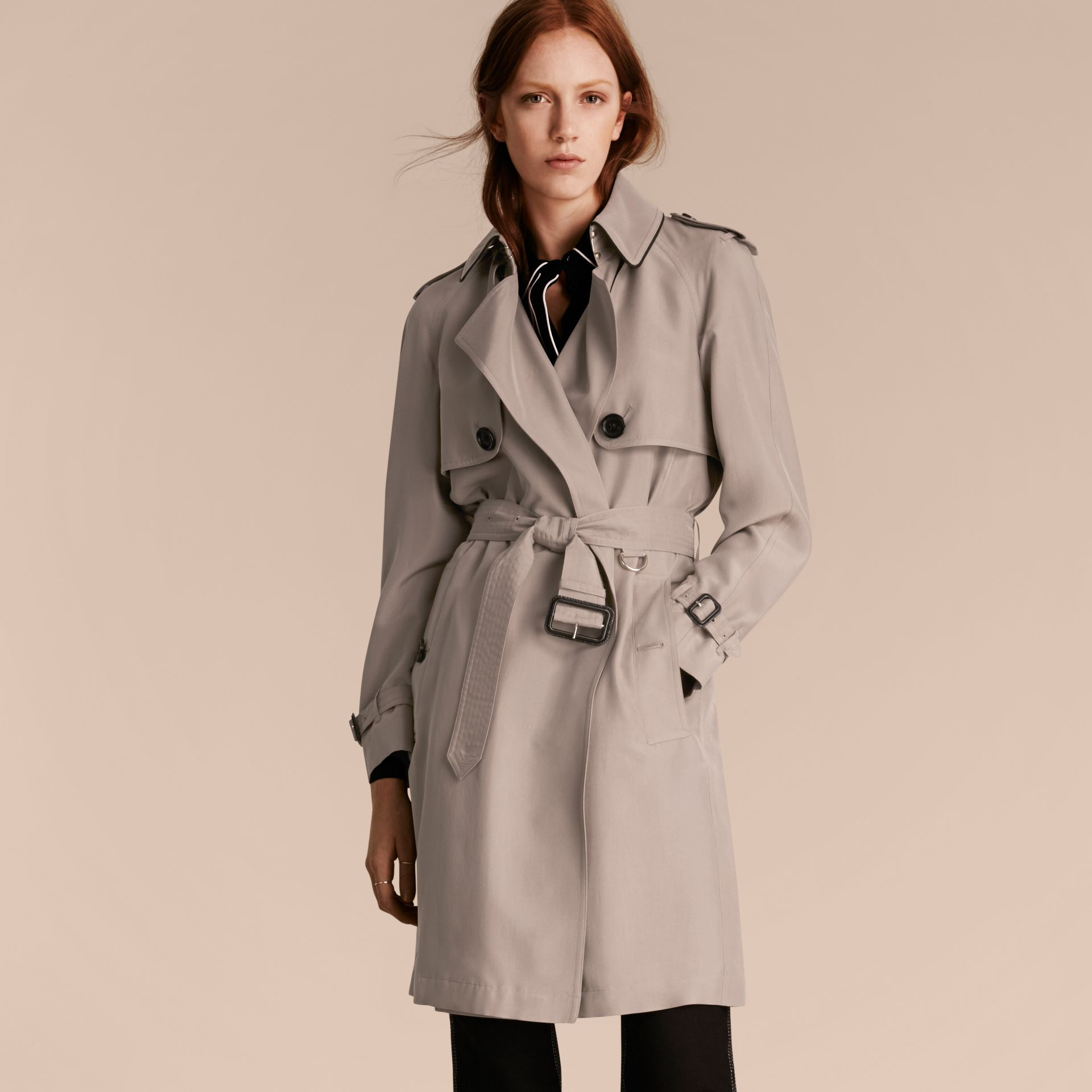 Pale taupe Oversize Detail Silk Trench Coat Pale Taupe - gallery image 6