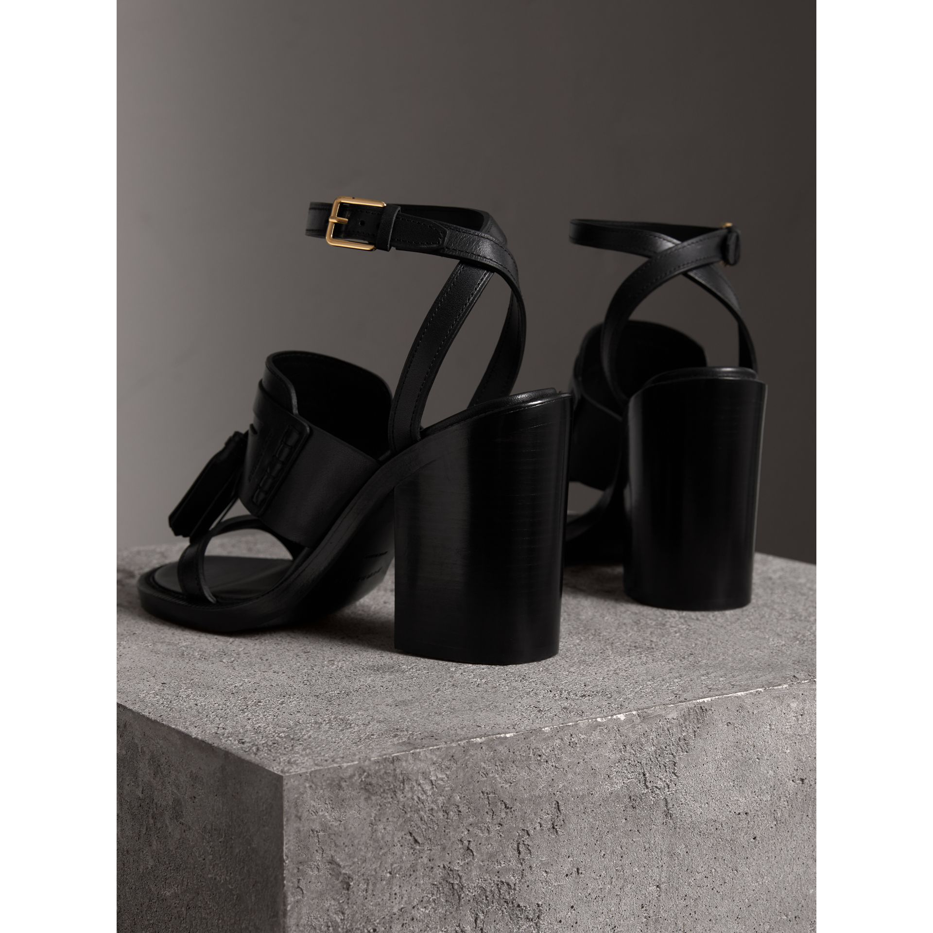 Tasselled Leather Block-heel Sandals in Black - Women | Burberry - gallery image 3