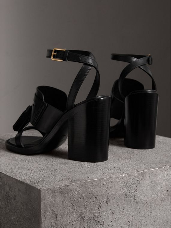 Tasselled Leather Block-heel Sandals in Black - Women | Burberry Australia - cell image 3