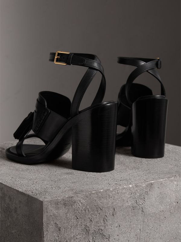 Tasselled Leather Block-heel Sandals in Black - Women | Burberry - cell image 3
