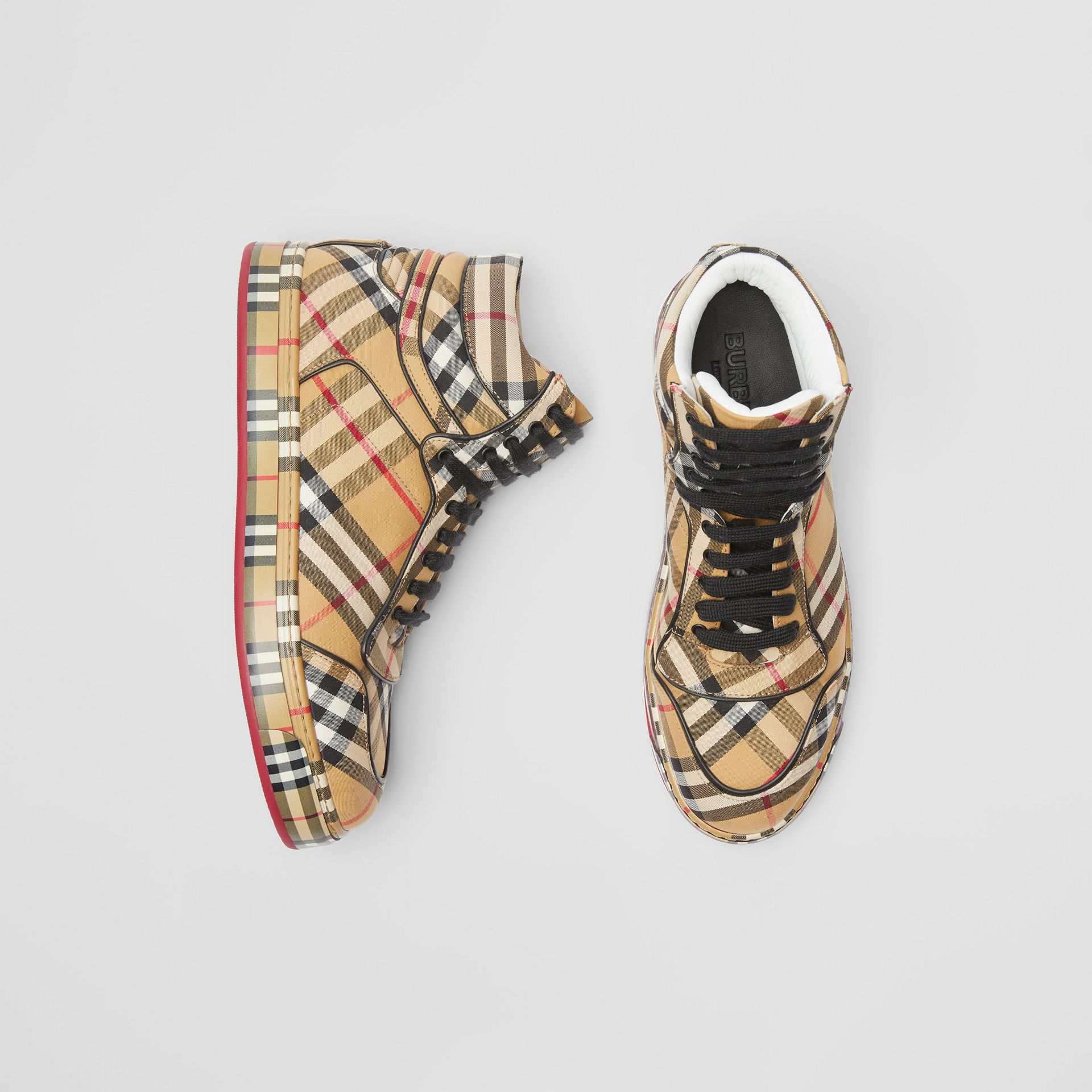 Vintage Check Cotton High-top Sneakers in Antique Yellow - Women | Burberry Hong Kong - gallery image 0