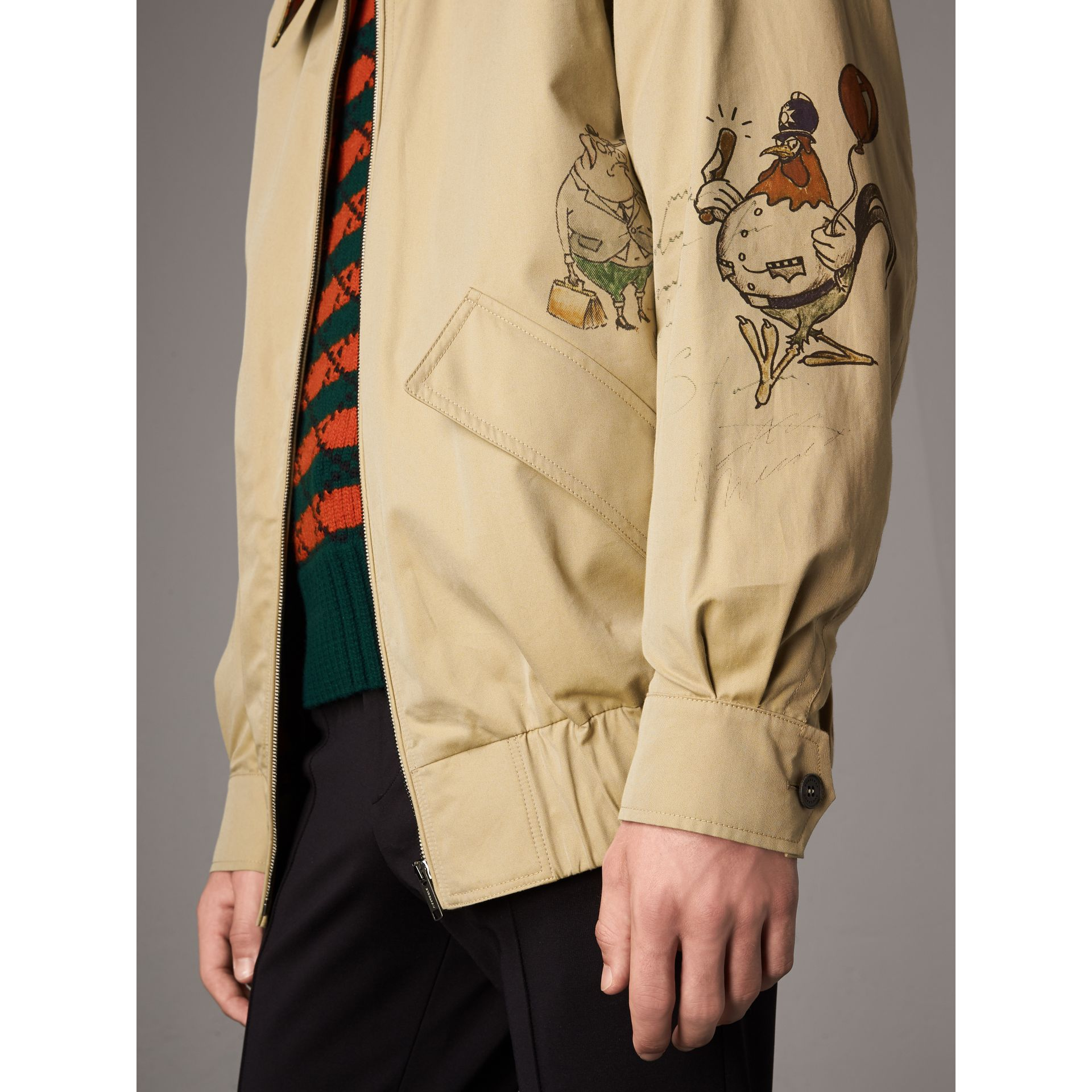 Sketch Print Cotton Gabardine Harrington Jacket in Honey - Men | Burberry United Kingdom - gallery image 1