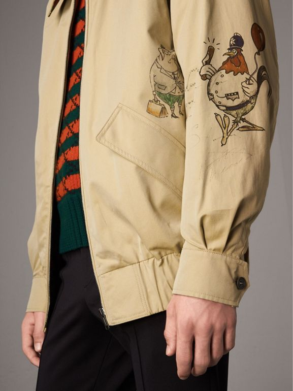 Sketch Print Cotton Gabardine Harrington Jacket in Honey - Men | Burberry - cell image 1