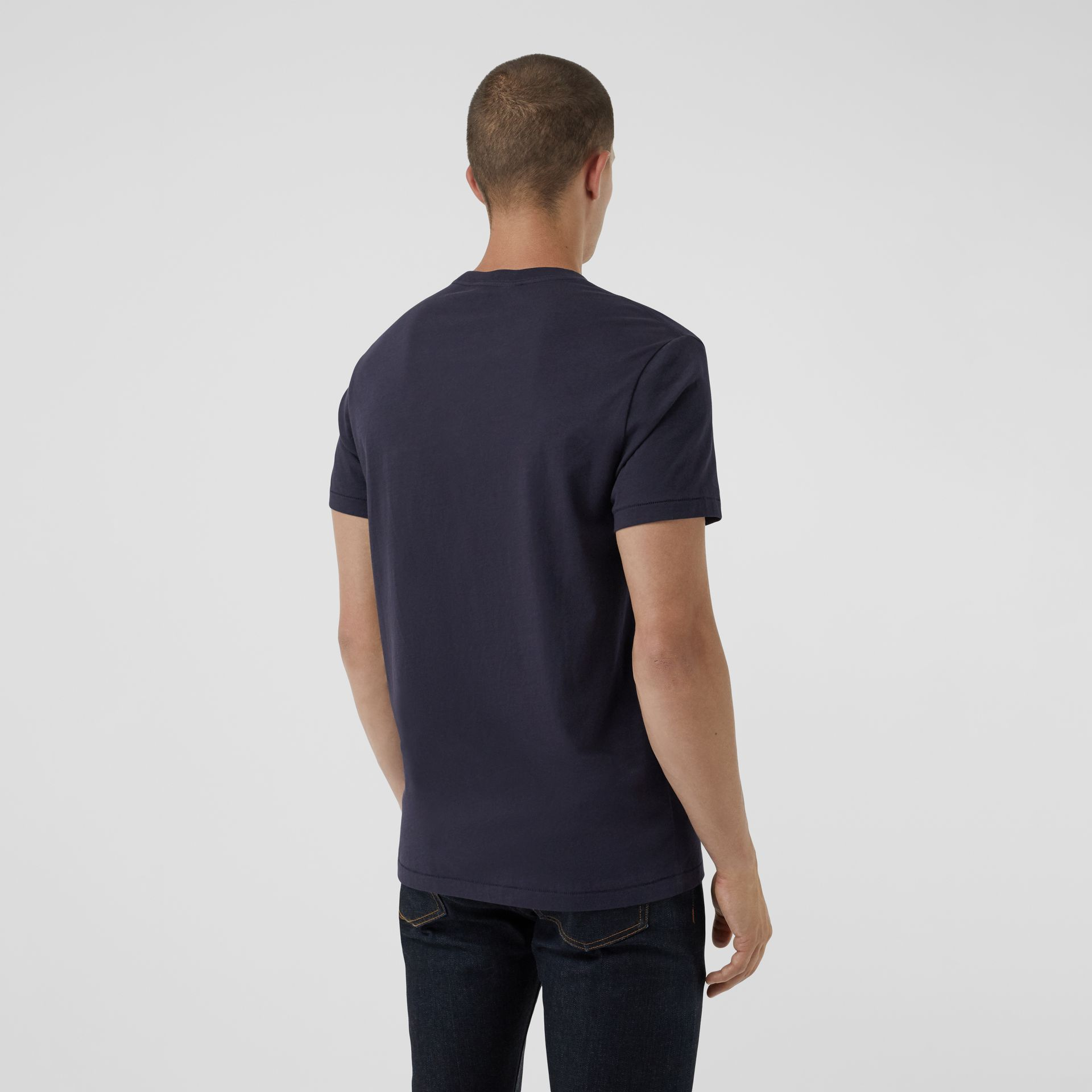 Cotton Jersey T-shirt in Navy - Men | Burberry Australia - gallery image 2