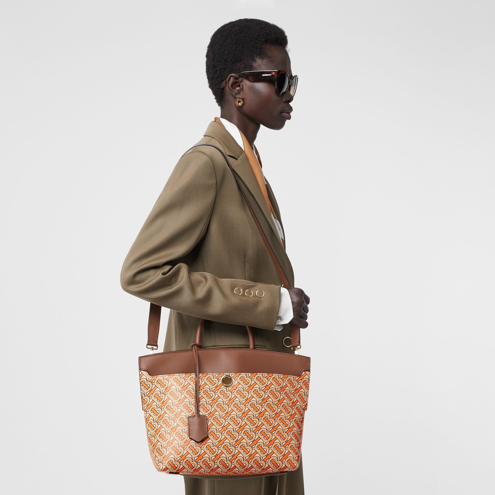 Small Monogram Print Leather Society Top Handle Bag in Bright Orange - Women | Burberry Canada - gallery image 2