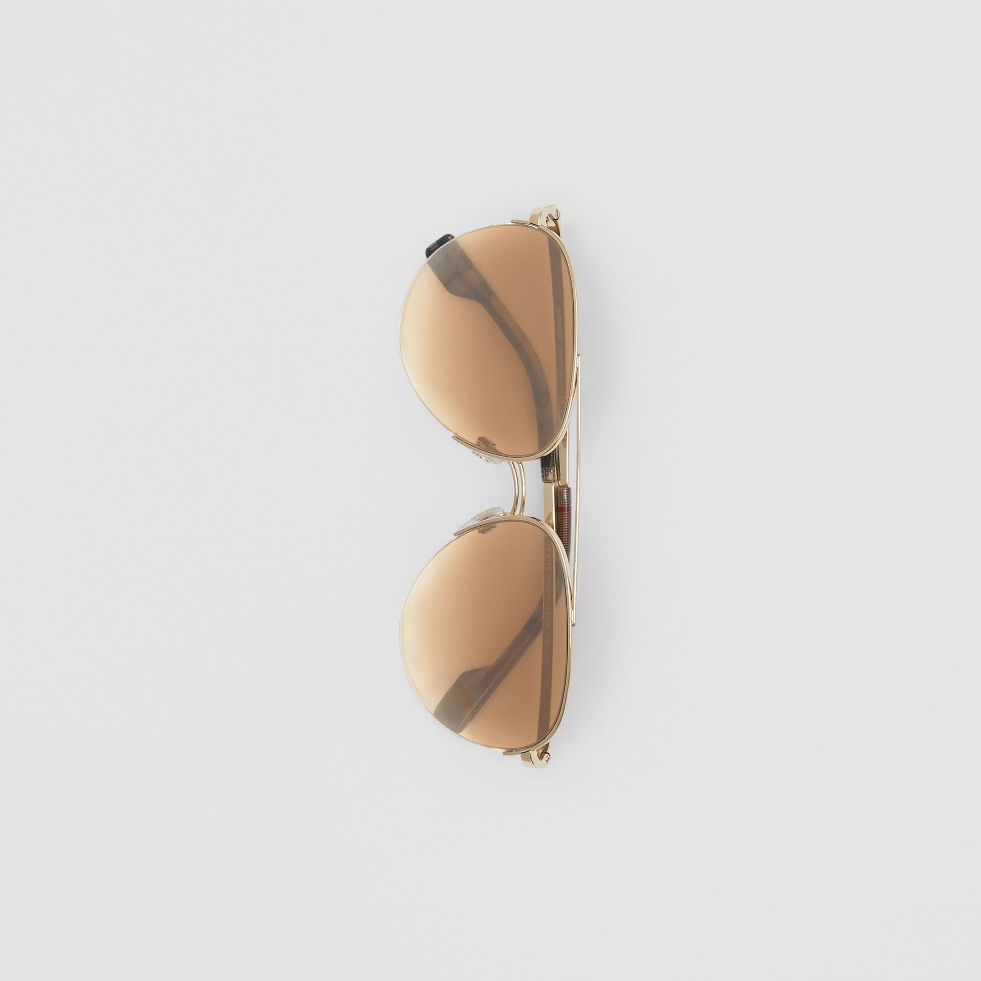 Top Bar Detail Pilot Sunglasses in Light Brown - Women | Burberry - gallery image 3