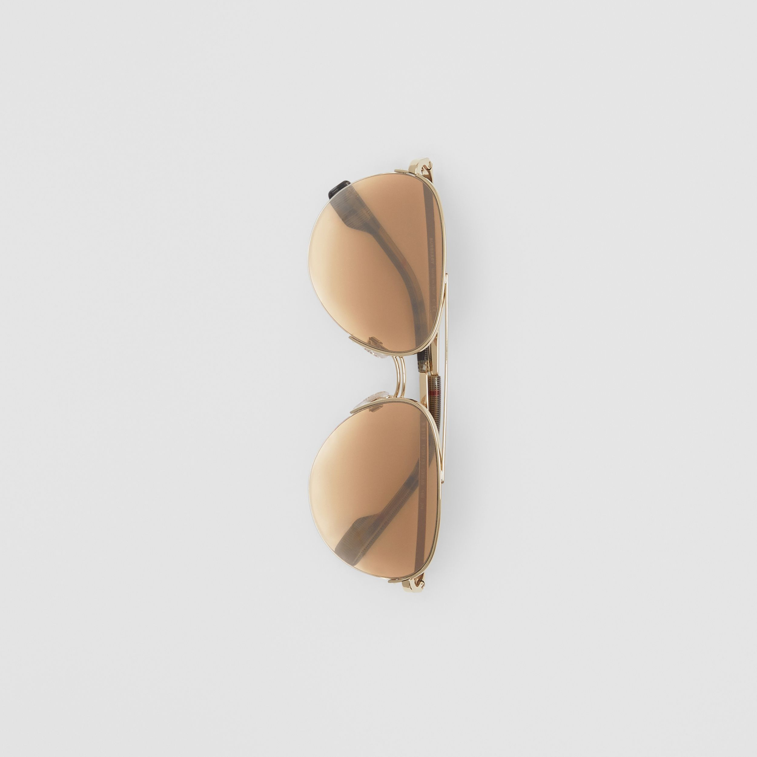 Top Bar Detail Pilot Sunglasses in Light Brown - Women | Burberry Australia - 4