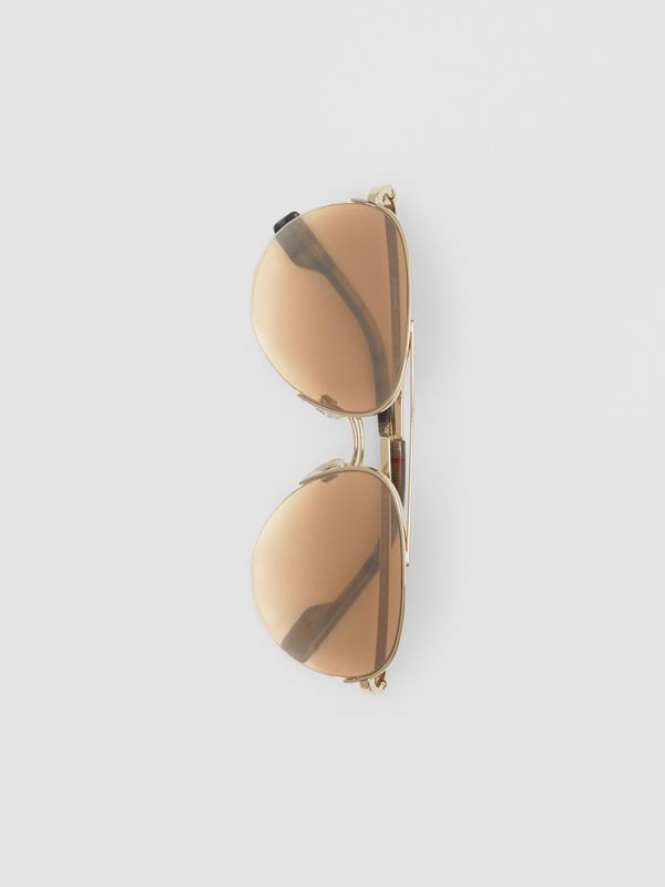 Top Bar Detail Pilot Sunglasses in Light Brown - Women | Burberry - cell image 3