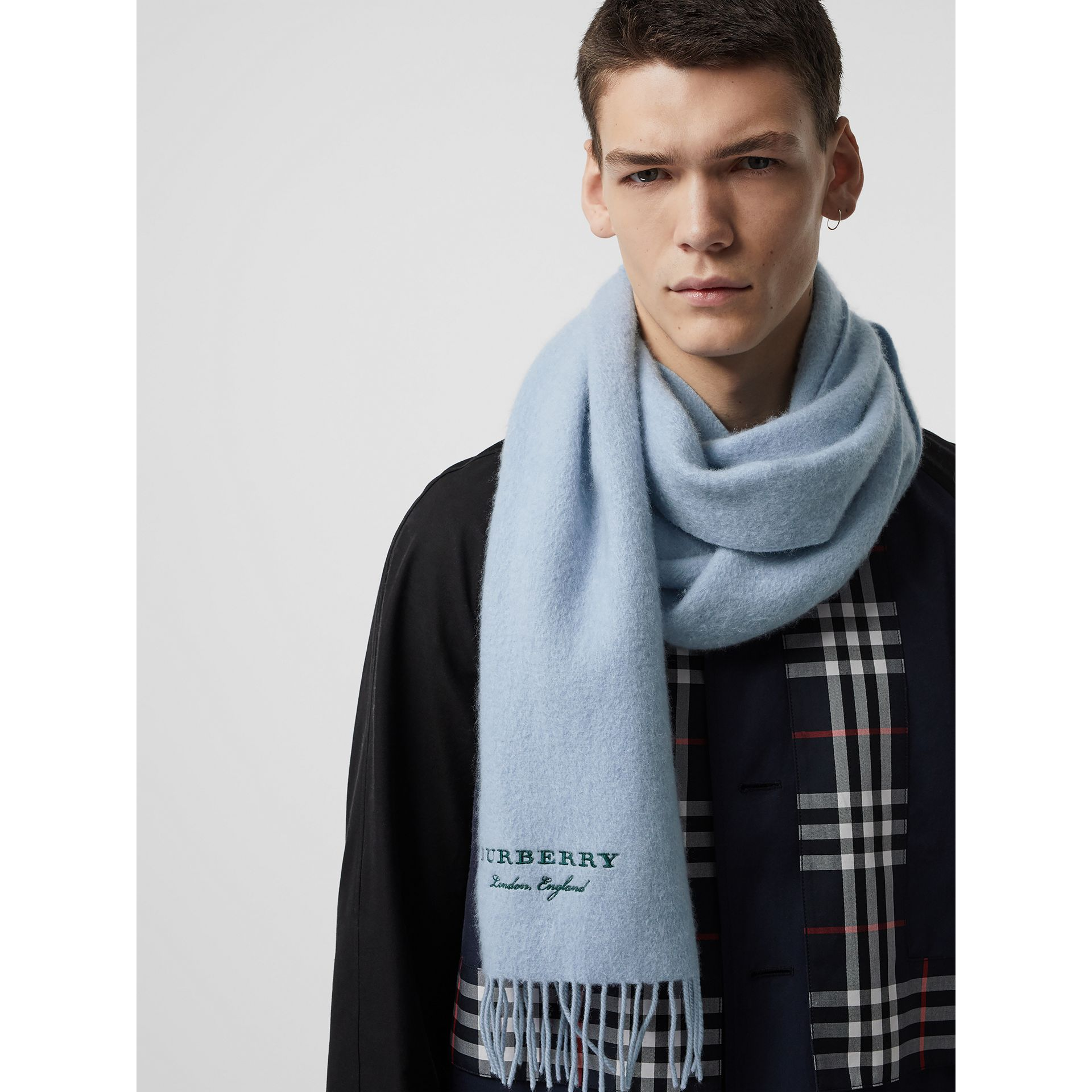 Embroidered Cashmere Fleece Scarf in Pale Powder Blue | Burberry Singapore - gallery image 6