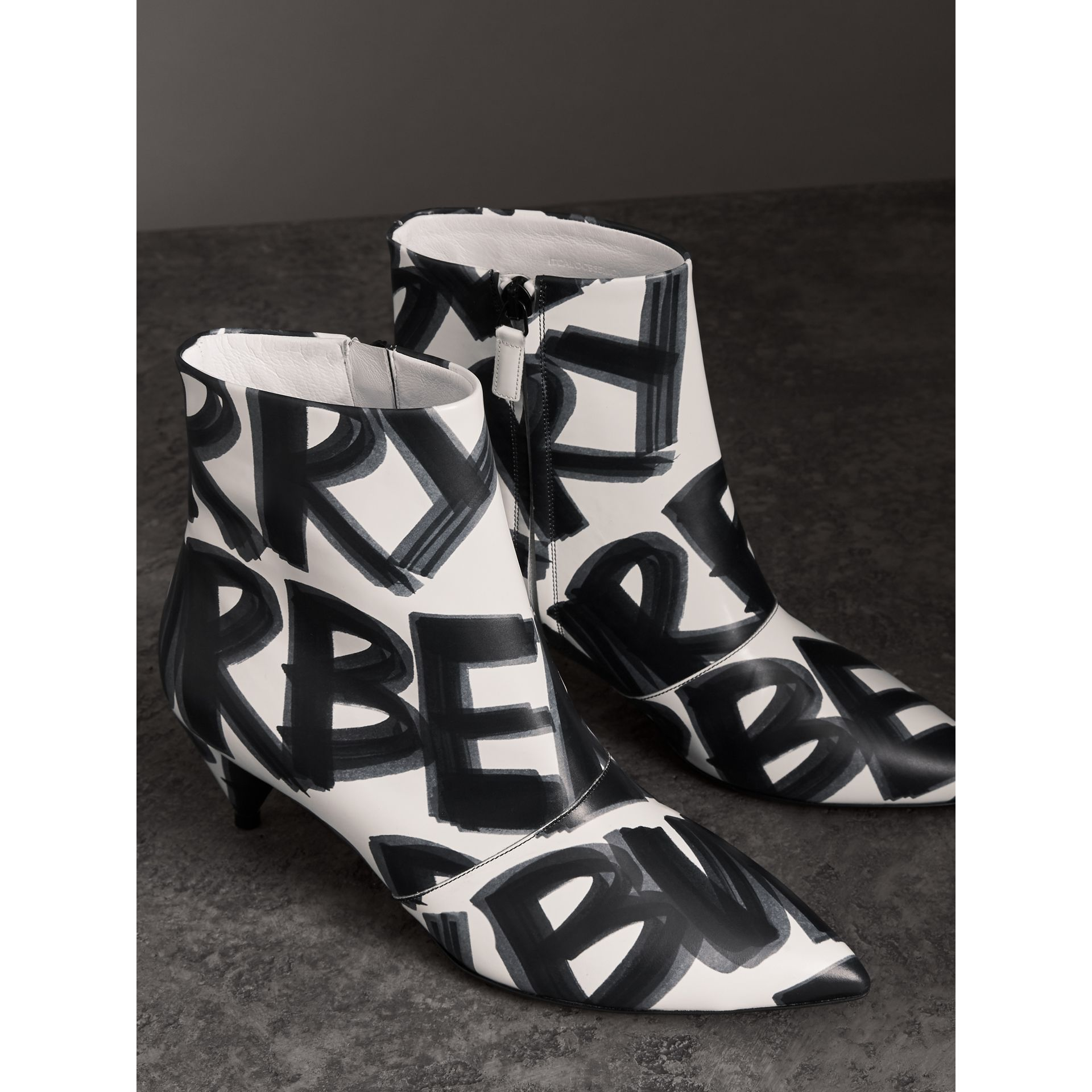 Graffiti Print Leather Ankle Boots in Optic White - Women | Burberry - gallery image 4