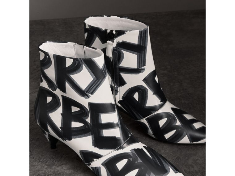Graffiti Print Leather Ankle Boots in Optic White - Women | Burberry - cell image 4