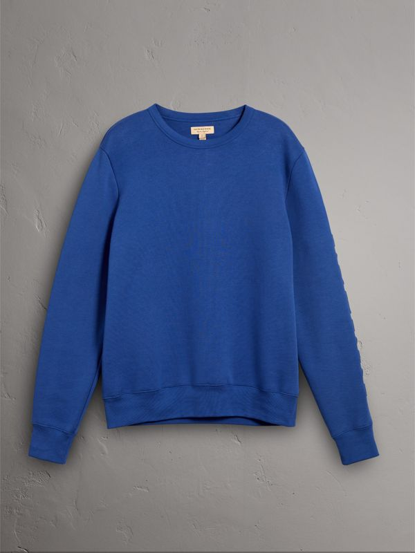 Cotton Jersey Sweatshirt in Bright Blue - Men | Burberry Australia - cell image 3