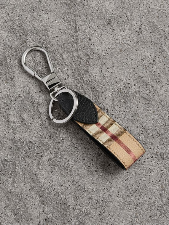 Haymarket Check and Leather Key Ring in Black
