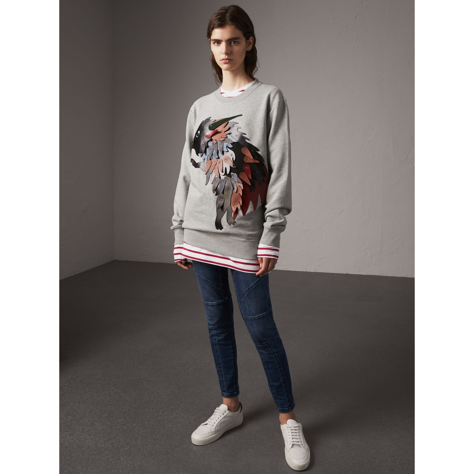 Unisex Beasts Leather Appliqué Cotton Sweatshirt in Pale Grey Melange - Women | Burberry - gallery image 1