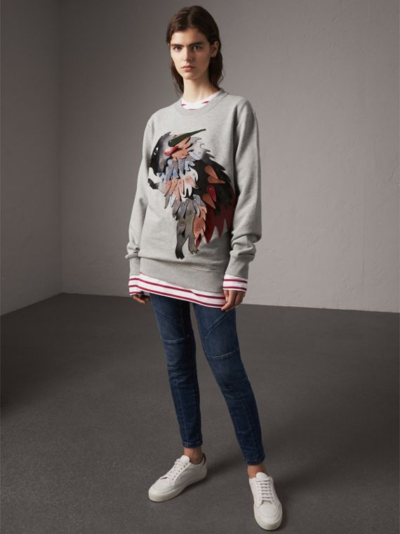 Unisex Beasts Leather Appliqué Cotton Sweatshirt in Pale Grey Melange