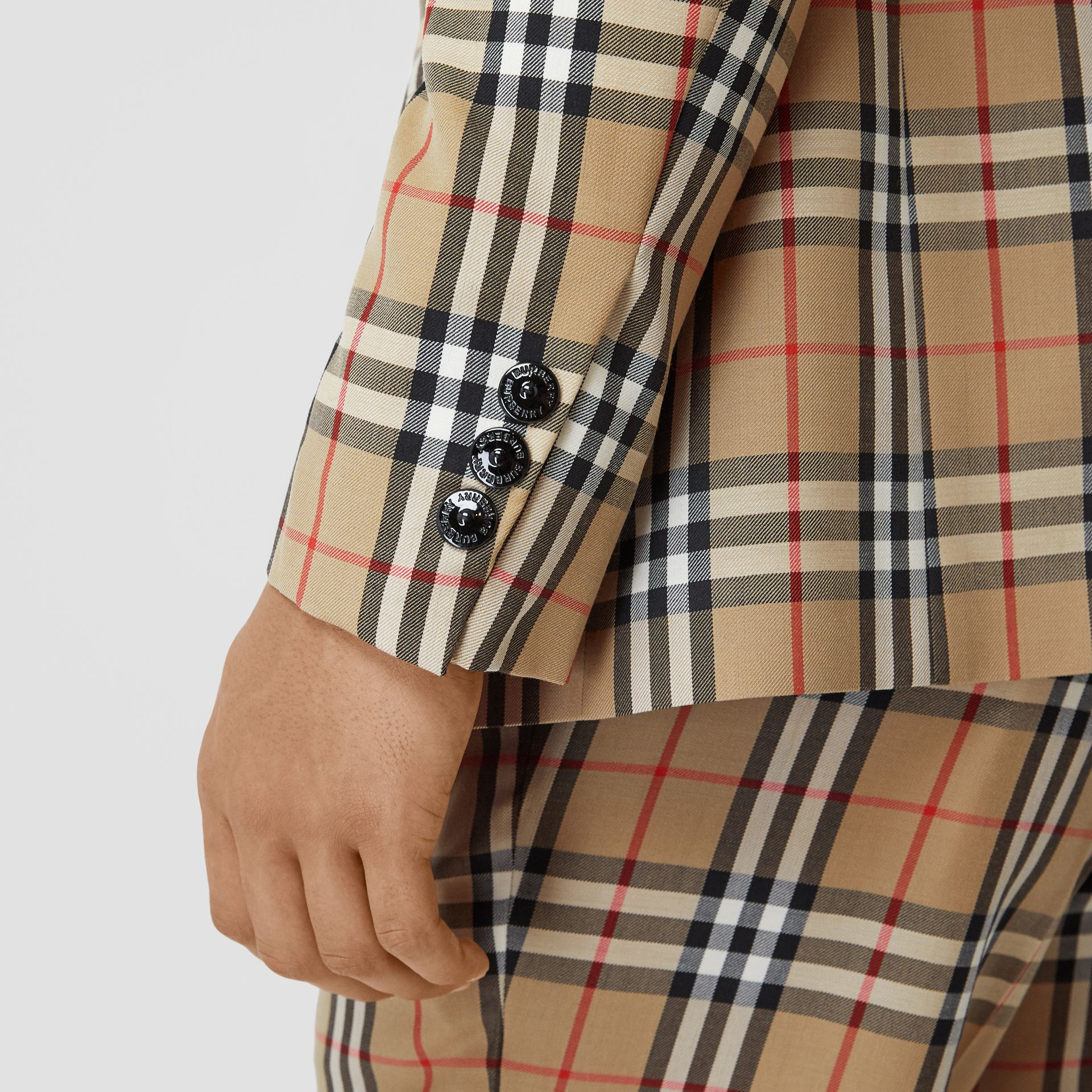 Slim Fit Vintage Check Wool Mohair Tailored Jacket in Archive Beige - Men | Burberry United Kingdom - gallery image 4
