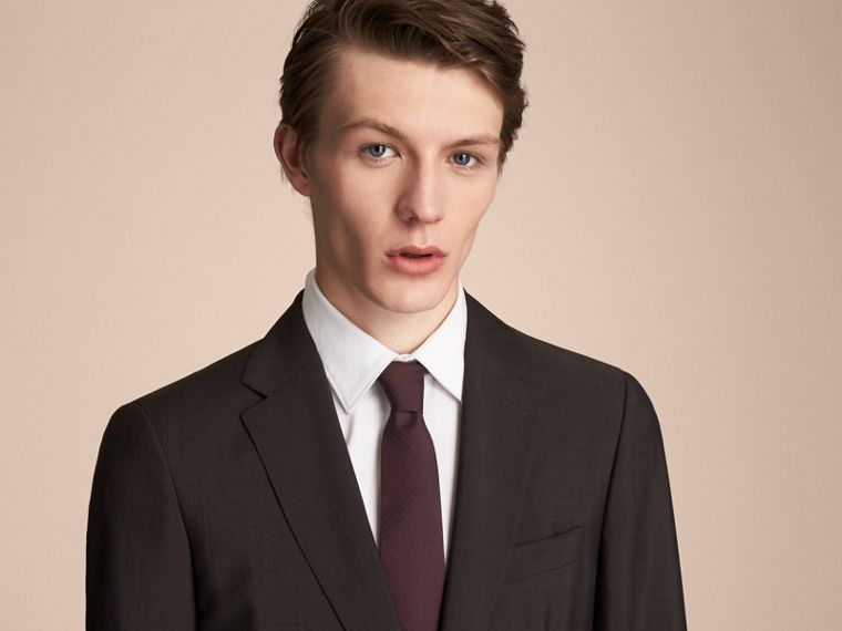 Modern Cut Topstitched Check Silk Tie in Burgundy - Men | Burberry Singapore - cell image 2