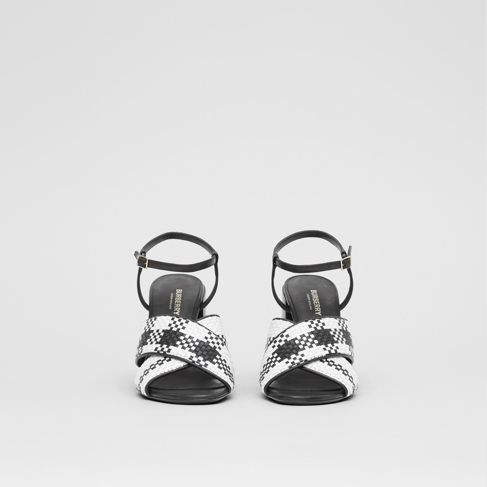 Latticed Leather Block-heel Sandals in Black/white - Women | Burberry - gallery image 3