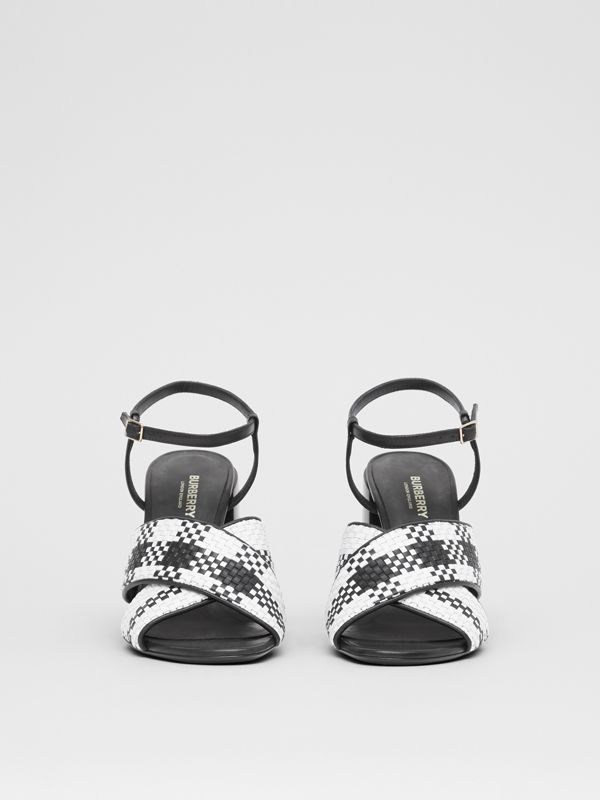 Latticed Leather Block-heel Sandals in Black/white - Women | Burberry - cell image 3