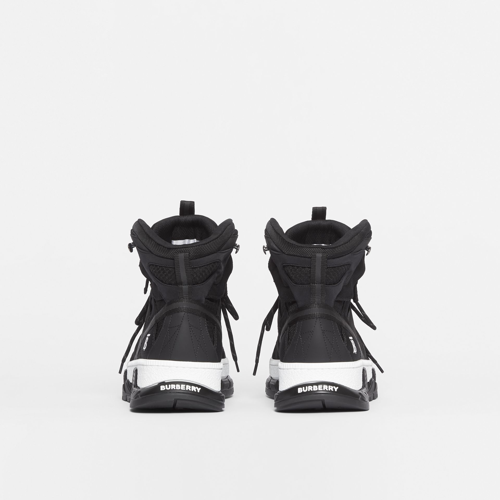 Mesh and Nubuck Union High-top Sneakers in Black - Men | Burberry - gallery image 4