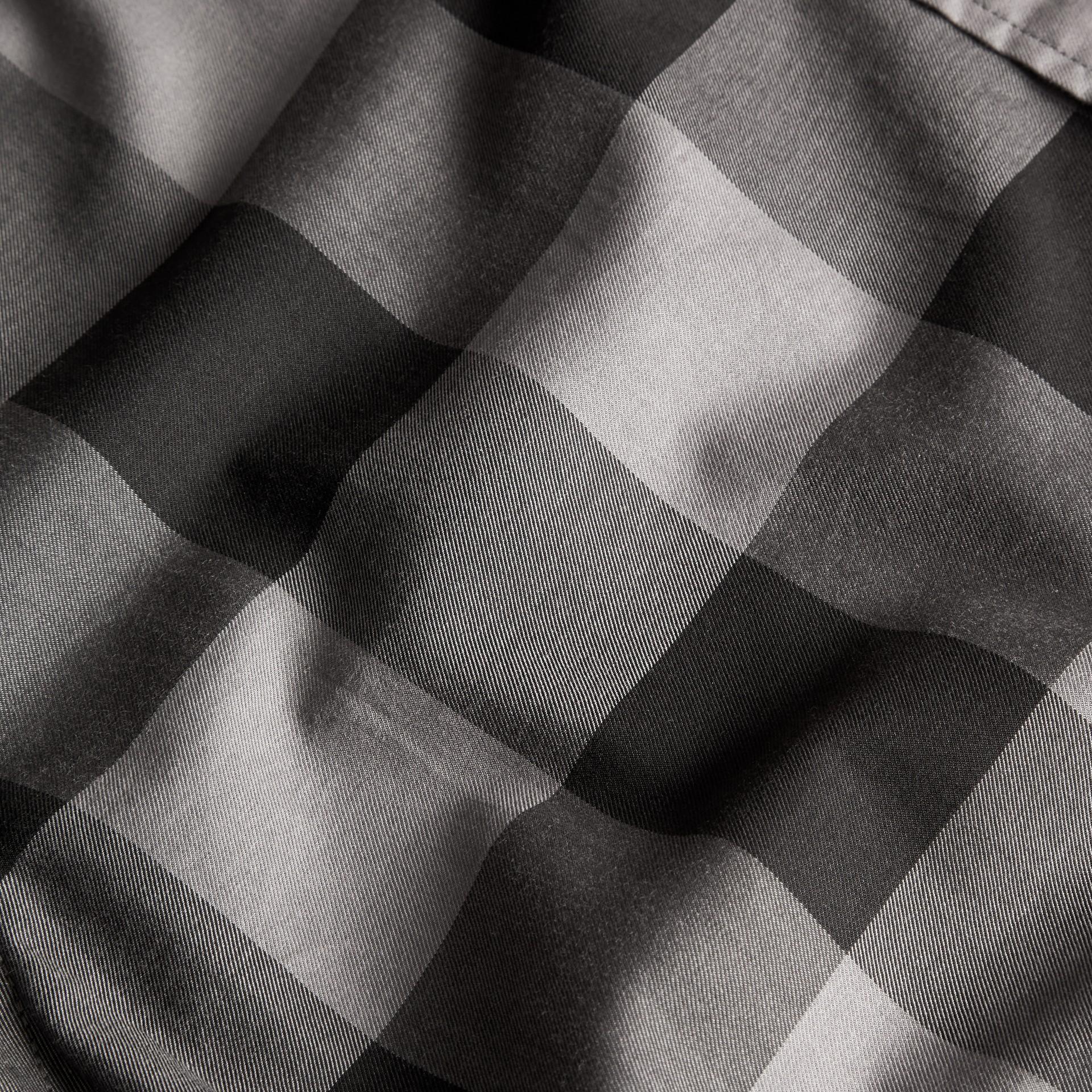 Anthracite Chemise en coton à manches courtes avec motif check Anthracite - photo de la galerie 2