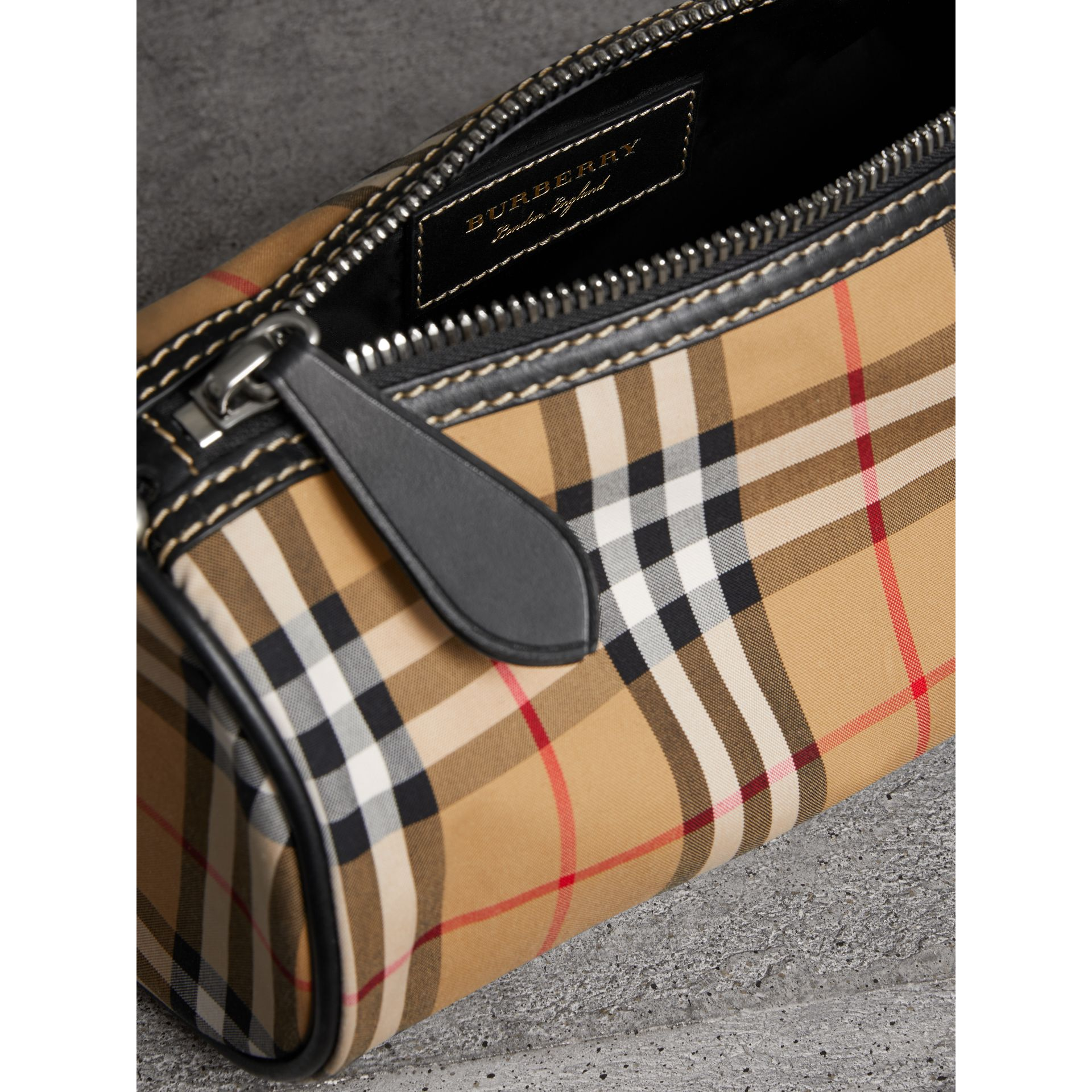 The Small Vintage Check and Leather Barrel Bag in Antique Yellow - Women | Burberry - gallery image 5