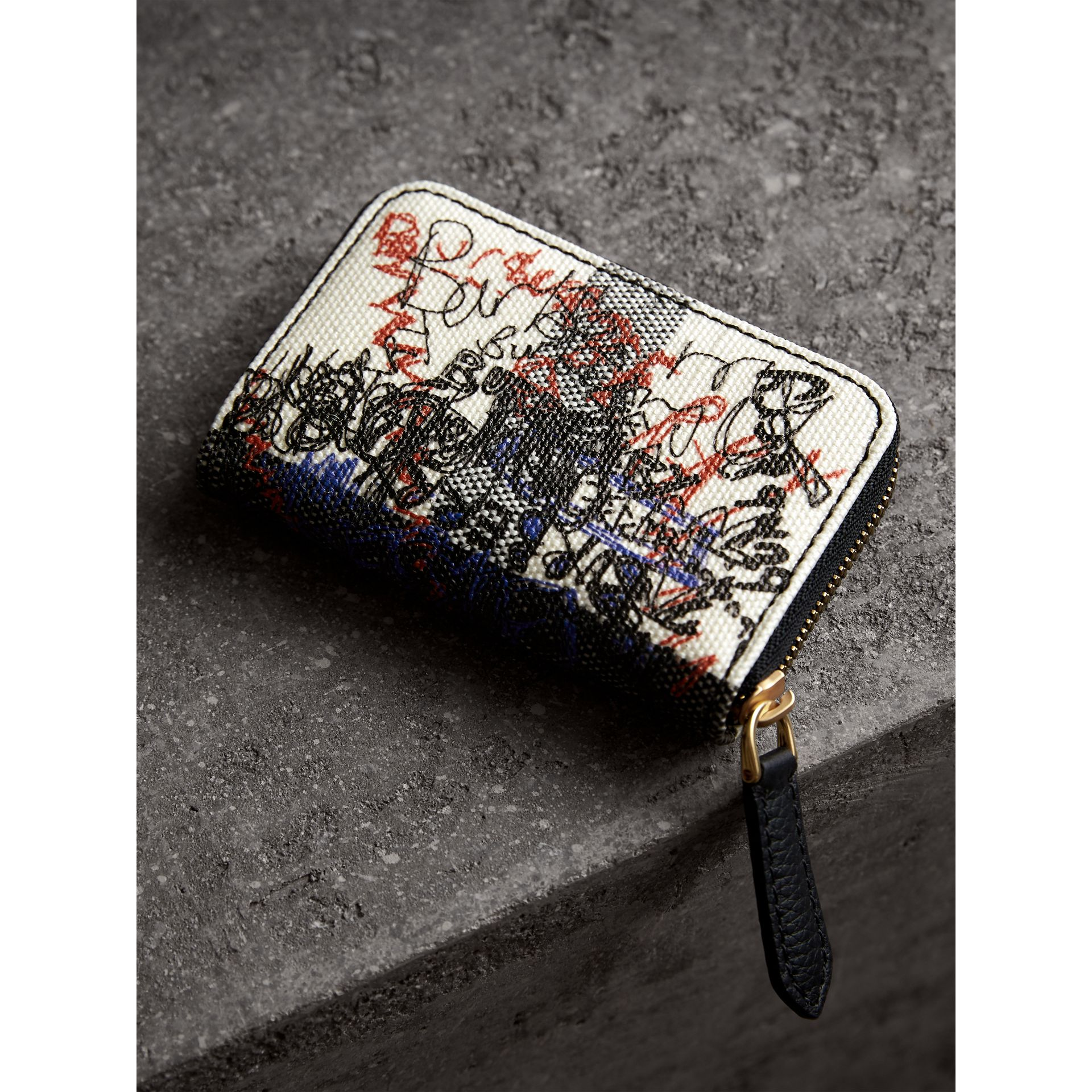 Doodle Print Coated Canvas Check Ziparound Coin Case in White/black | Burberry United States - gallery image 2