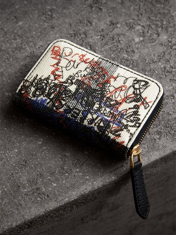Doodle Print Coated Canvas Check Ziparound Coin Case in White/black | Burberry - cell image 2