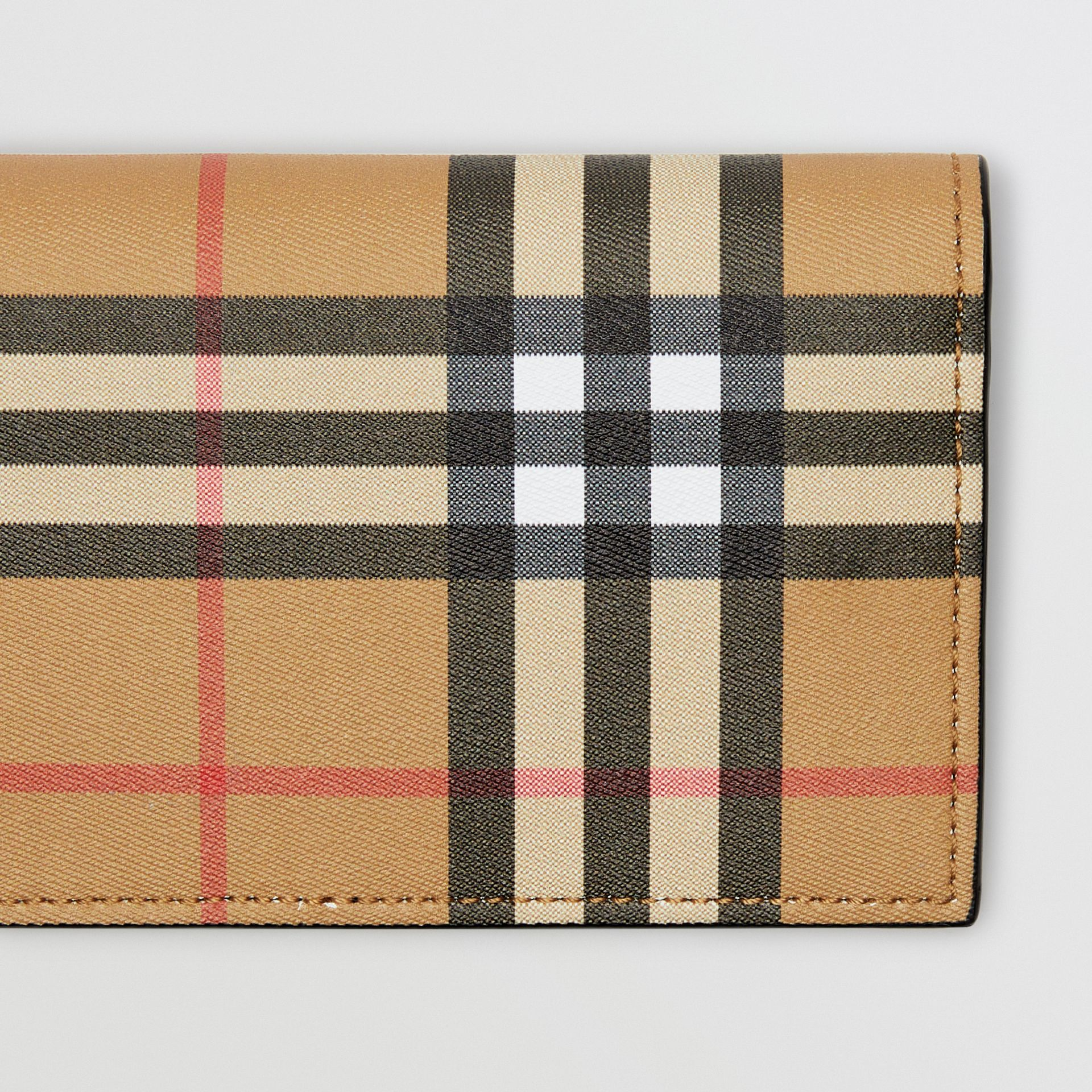 Vintage Check and Leather Continental Wallet in Antique Yellow/black - Men | Burberry - gallery image 1