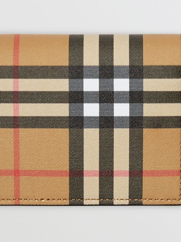 Vintage Check and Leather Continental Wallet in Antique Yellow/black - Men | Burberry - cell image 1
