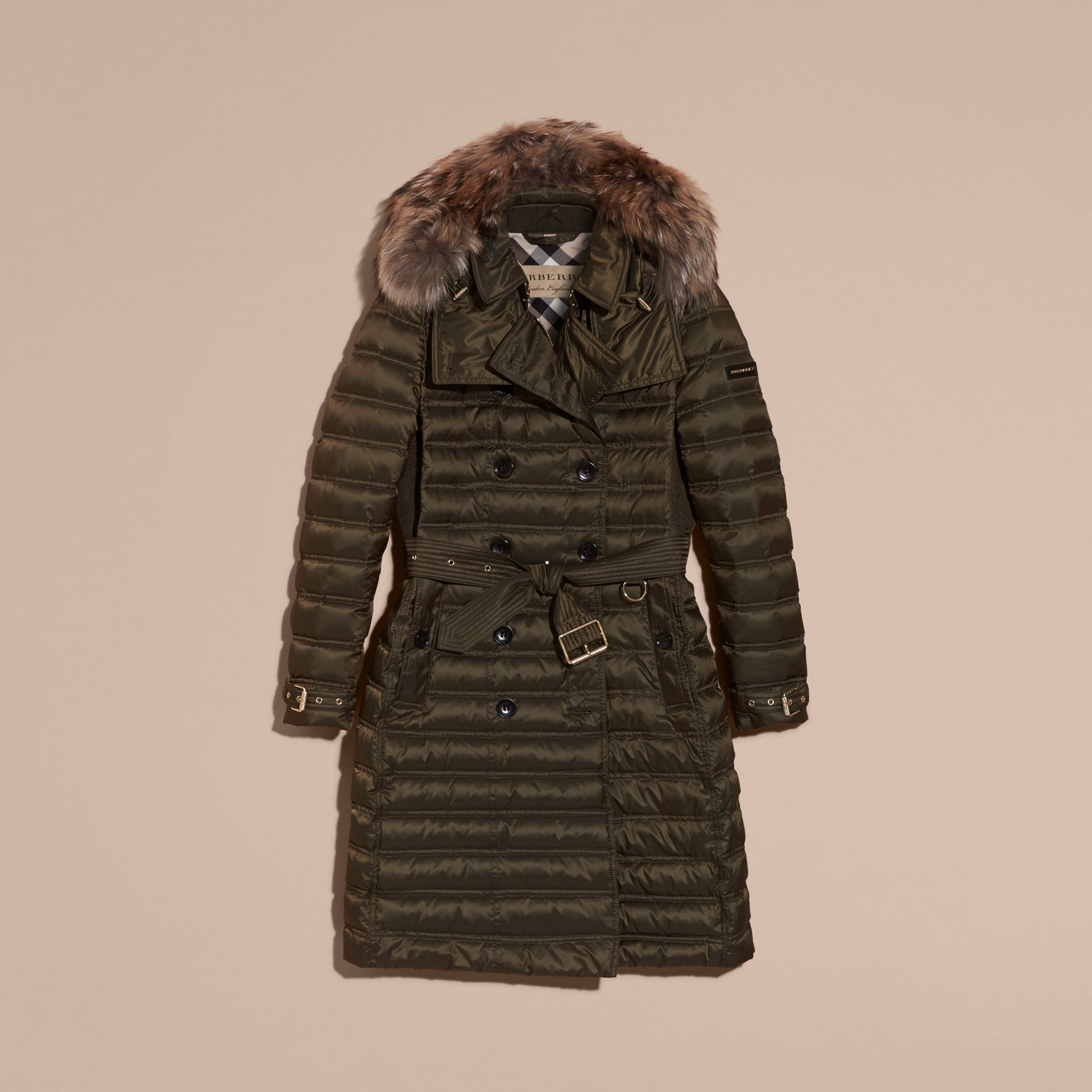 Dark olive Down-Filled Puffer Coat with Fur Trim Dark Olive - gallery image 4