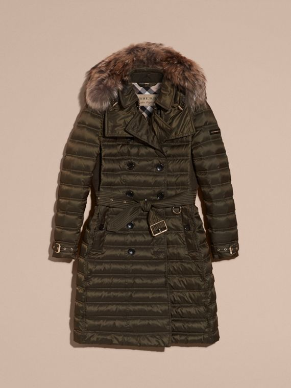 Dark olive Down-Filled Puffer Coat with Fur Trim Dark Olive - cell image 3