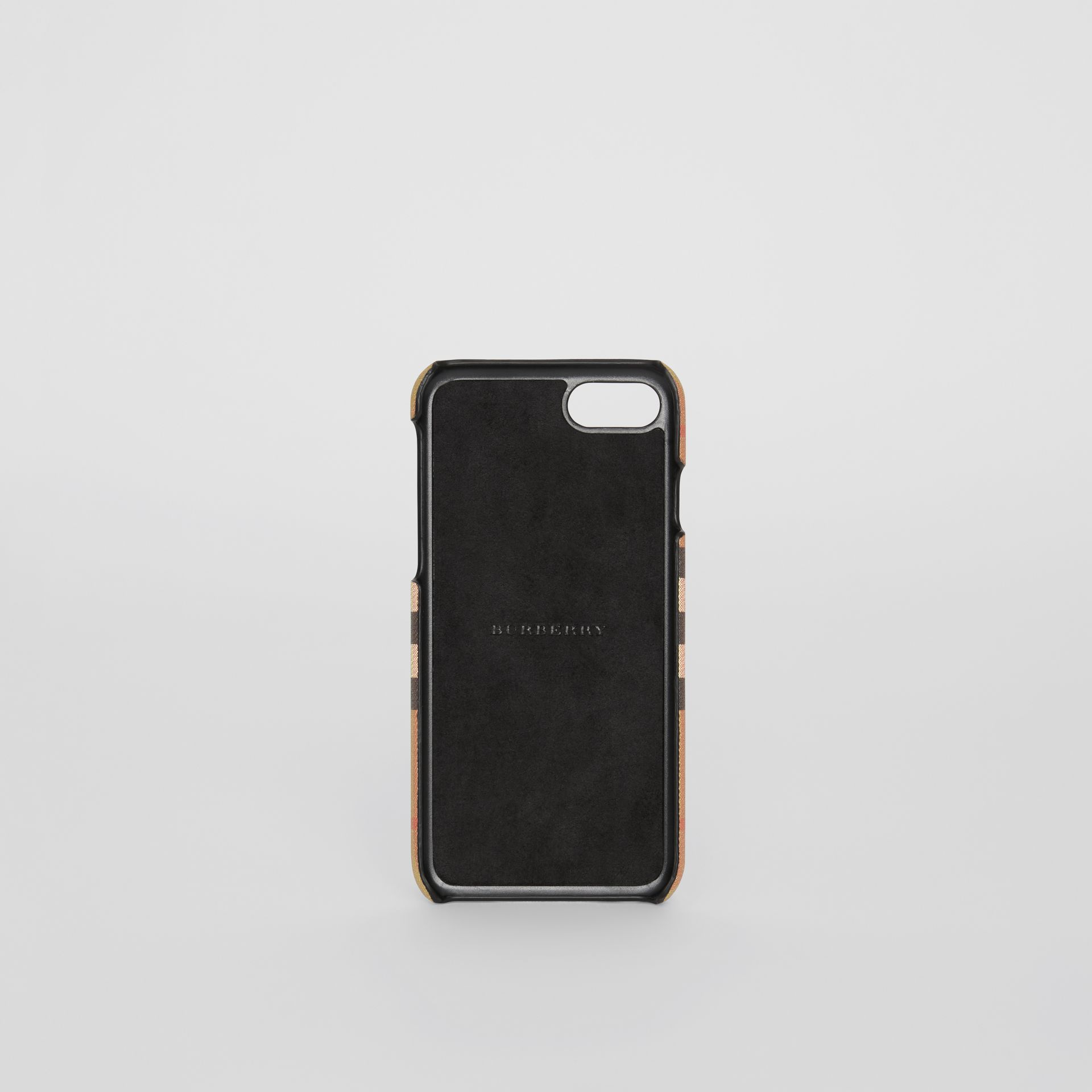 Custodia per iPhone 8 in pelle e motivo Vintage check (Nero) | Burberry - immagine della galleria 2