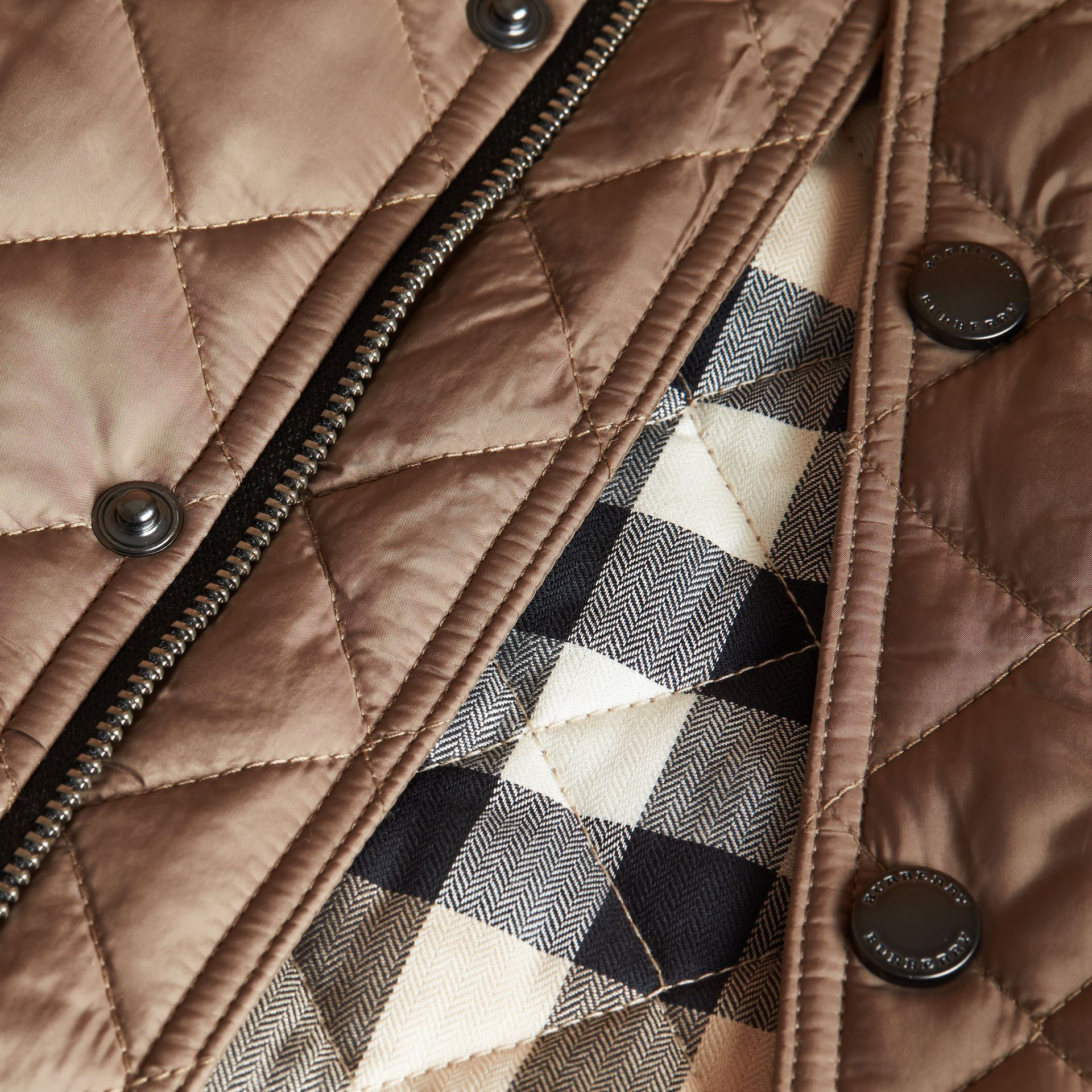 Diamond Quilted Jacket in Dark Mushroom - gallery image 2