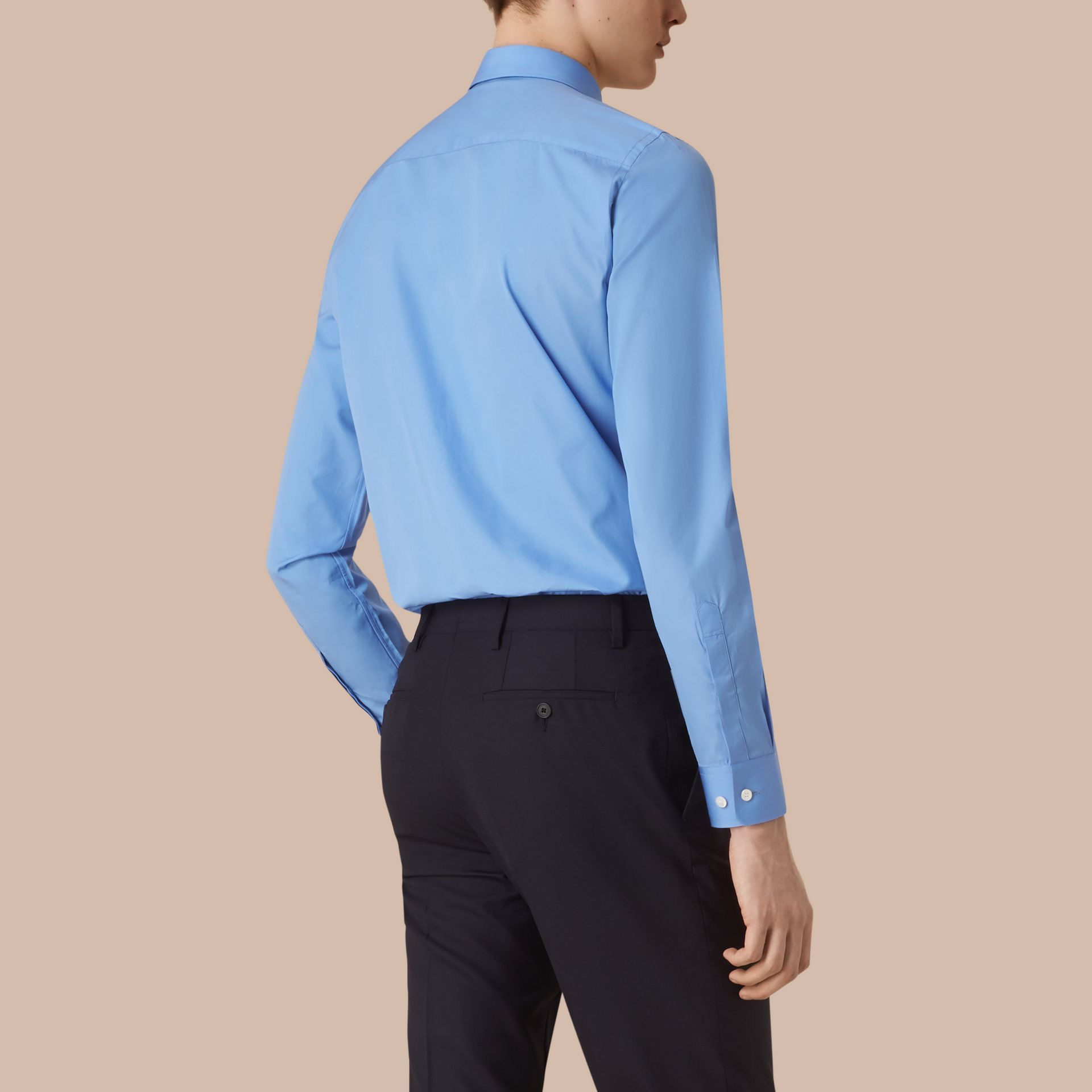 Mid blue Slim Fit Cotton Poplin Shirt Mid Blue - gallery image 3