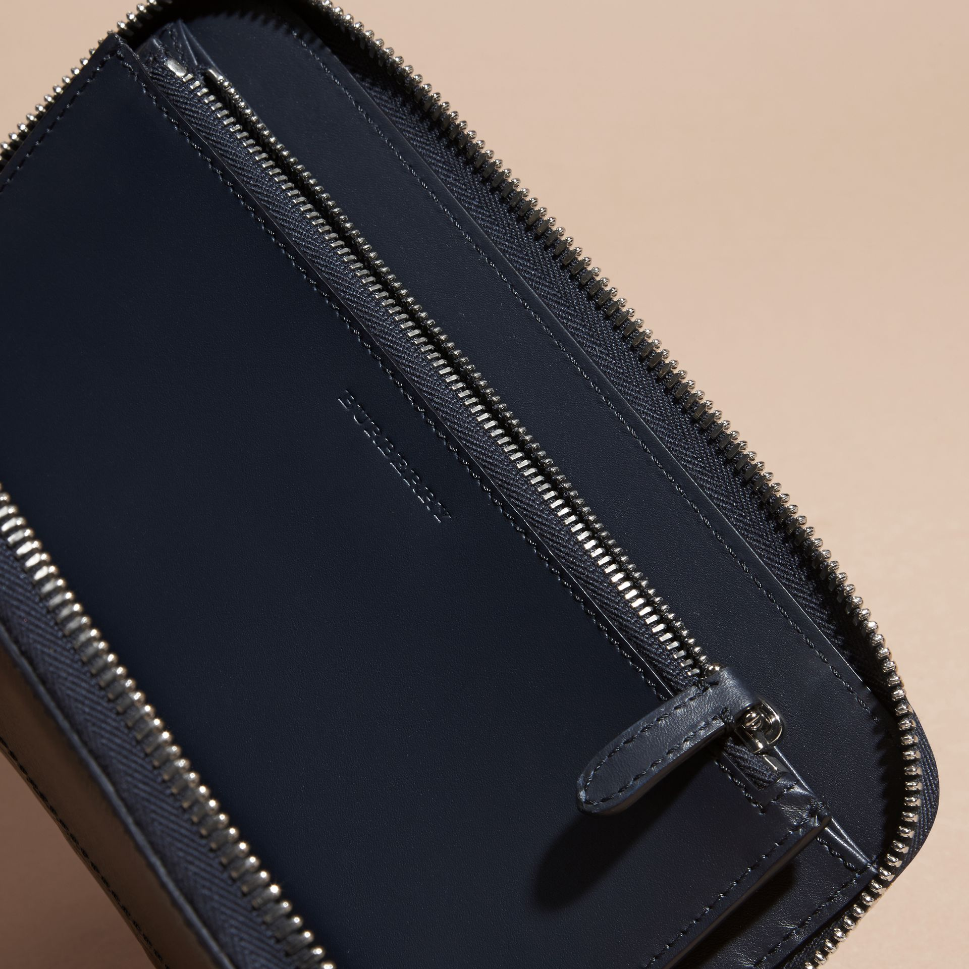 London Leather and Alligator Ziparound Wallet in Dark Navy - Men | Burberry Australia - gallery image 4
