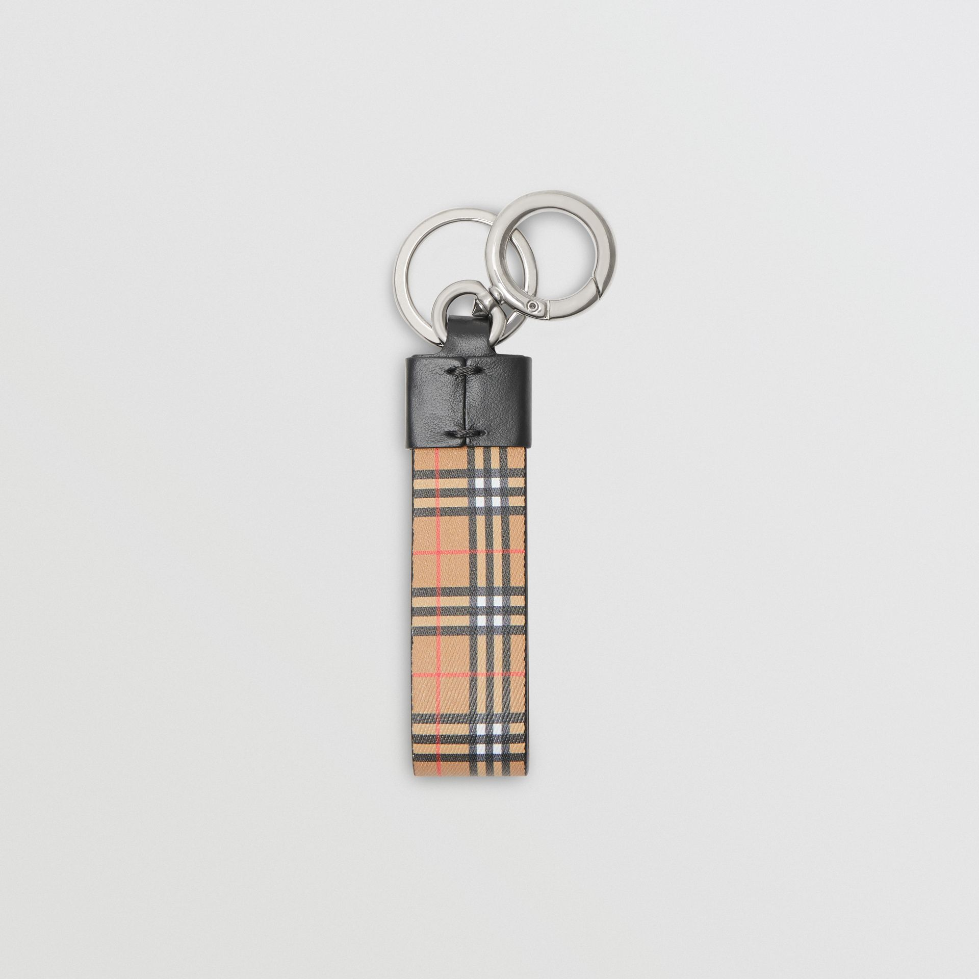 Small Scale Check and Leather Key Ring in Antique Yellow - Men | Burberry Australia - gallery image 2