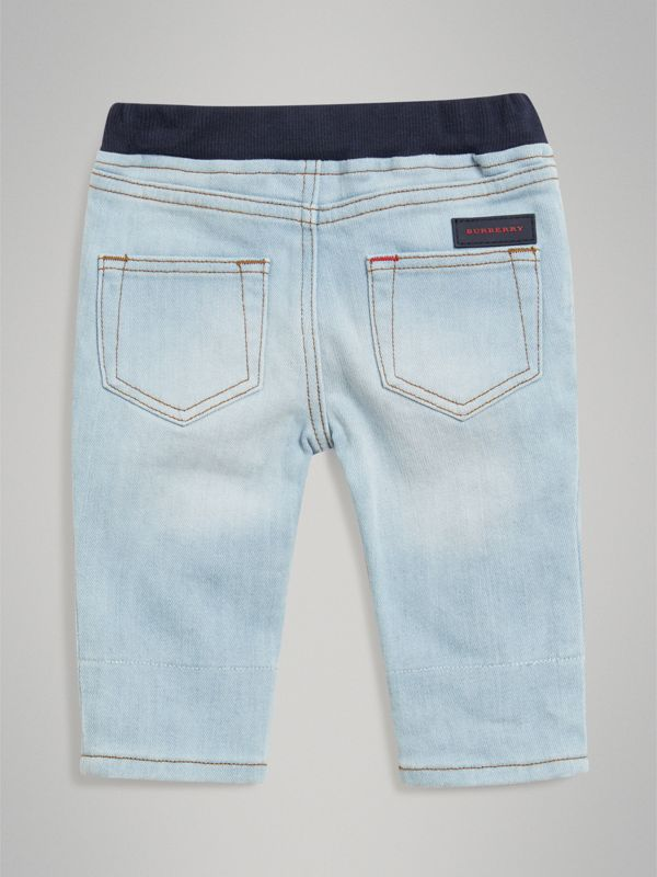 Relaxed Fit Pull-on Denim Jeans in Light Blue - Children | Burberry - cell image 3