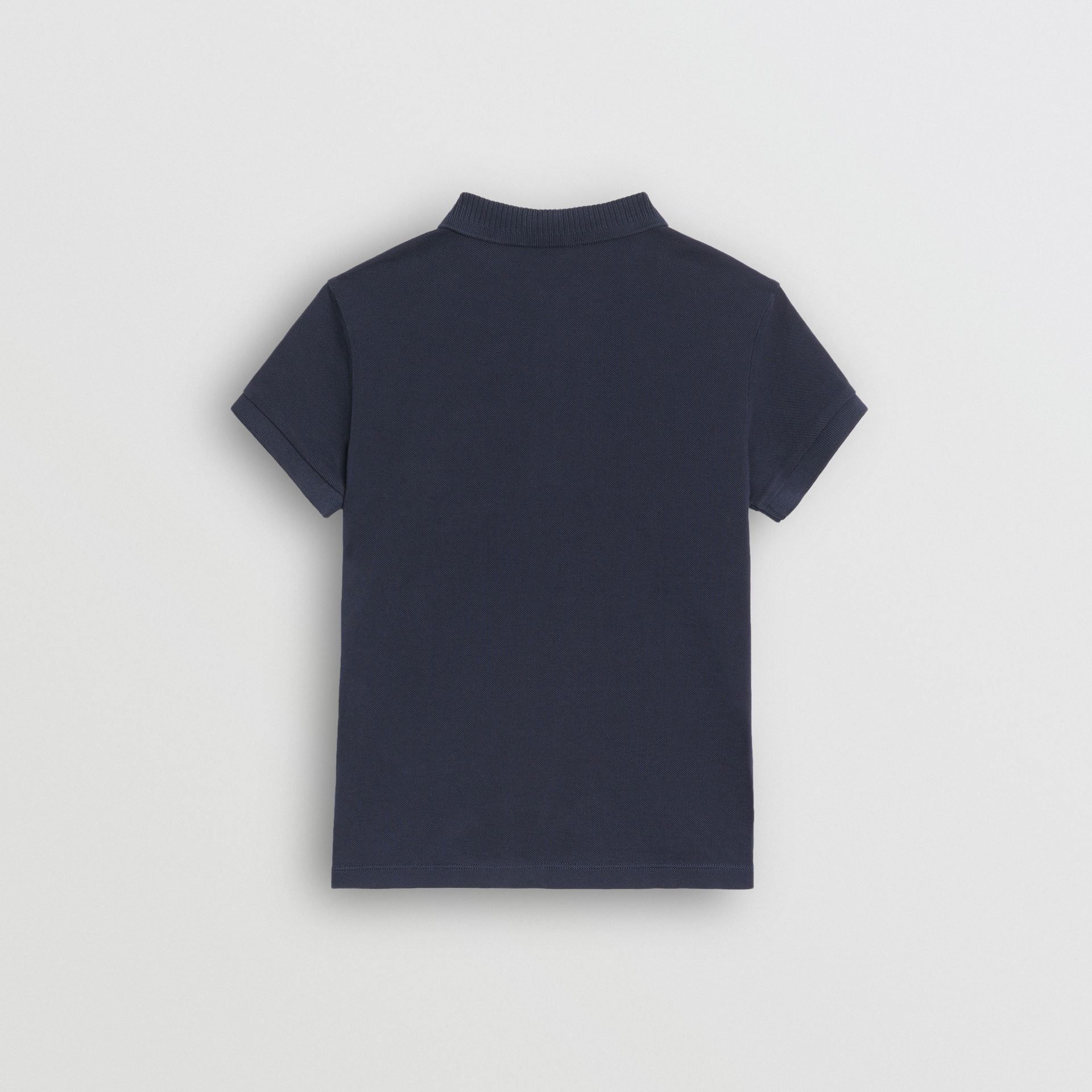 EKD Logo Cotton Piqué Polo Shirt in Navy - Children | Burberry - gallery image 3