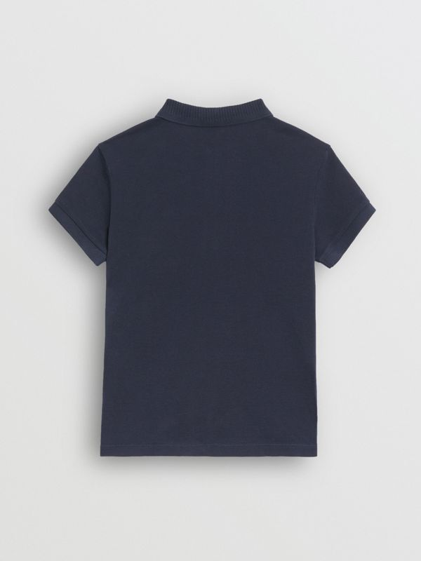 EKD Logo Cotton Piqué Polo Shirt in Navy - Children | Burberry - cell image 3