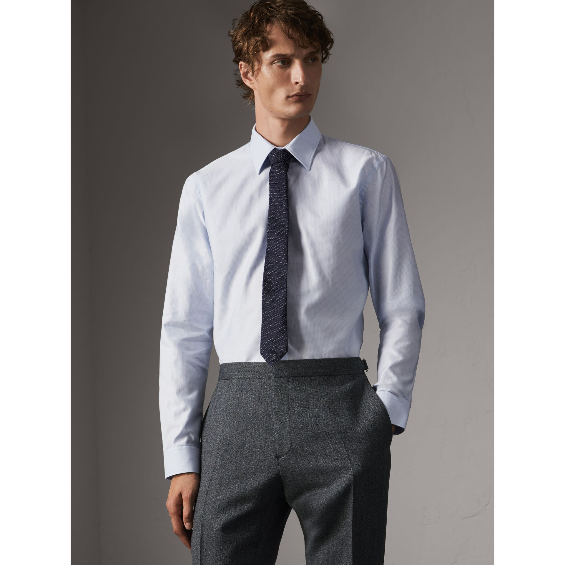 Modern Fit Pin Dot Dobby Cotton Shirt in Light Blue - Men | Burberry United Kingdom - gallery image 1