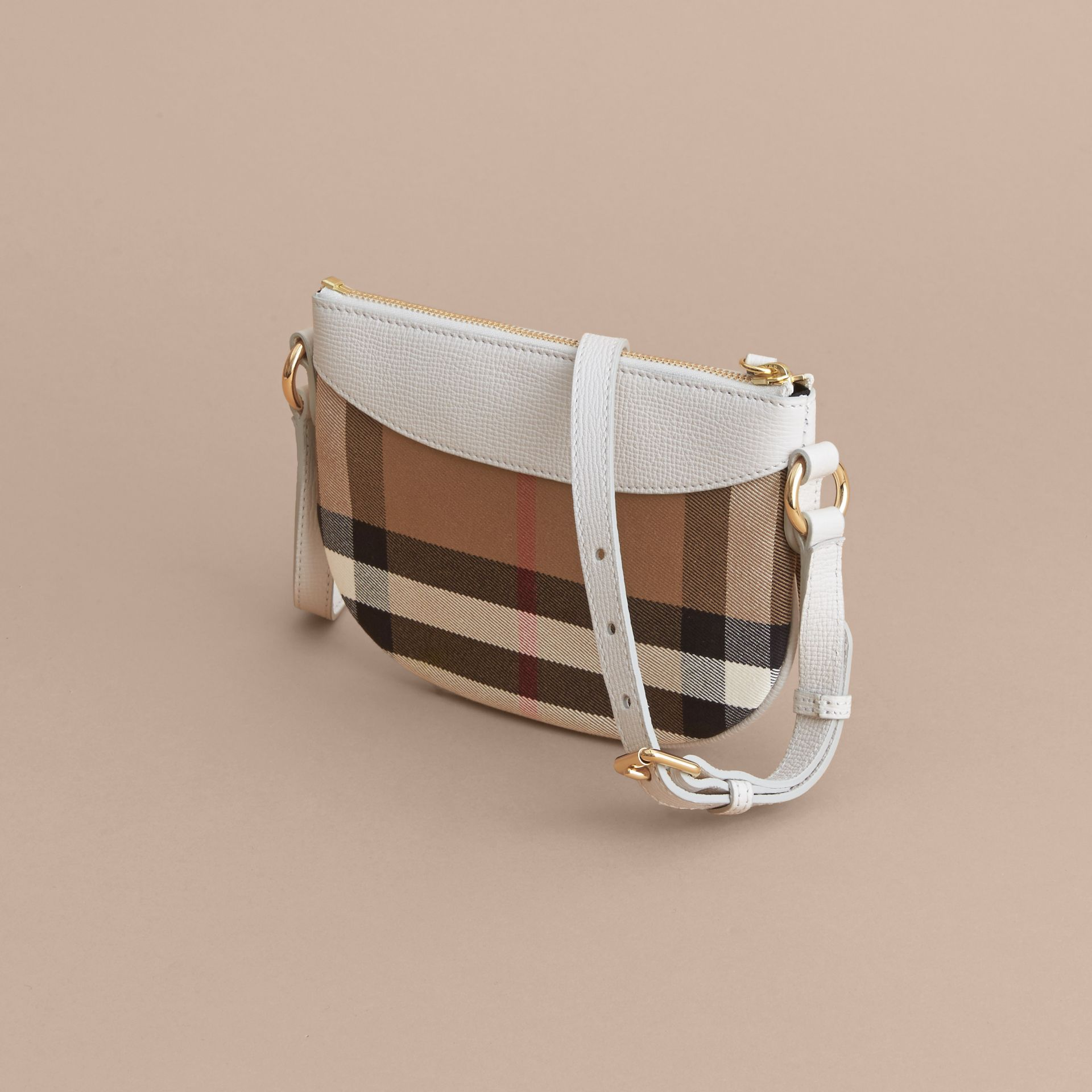 House Check and Leather Crossbody Bag in Natural - Girl | Burberry - gallery image 3